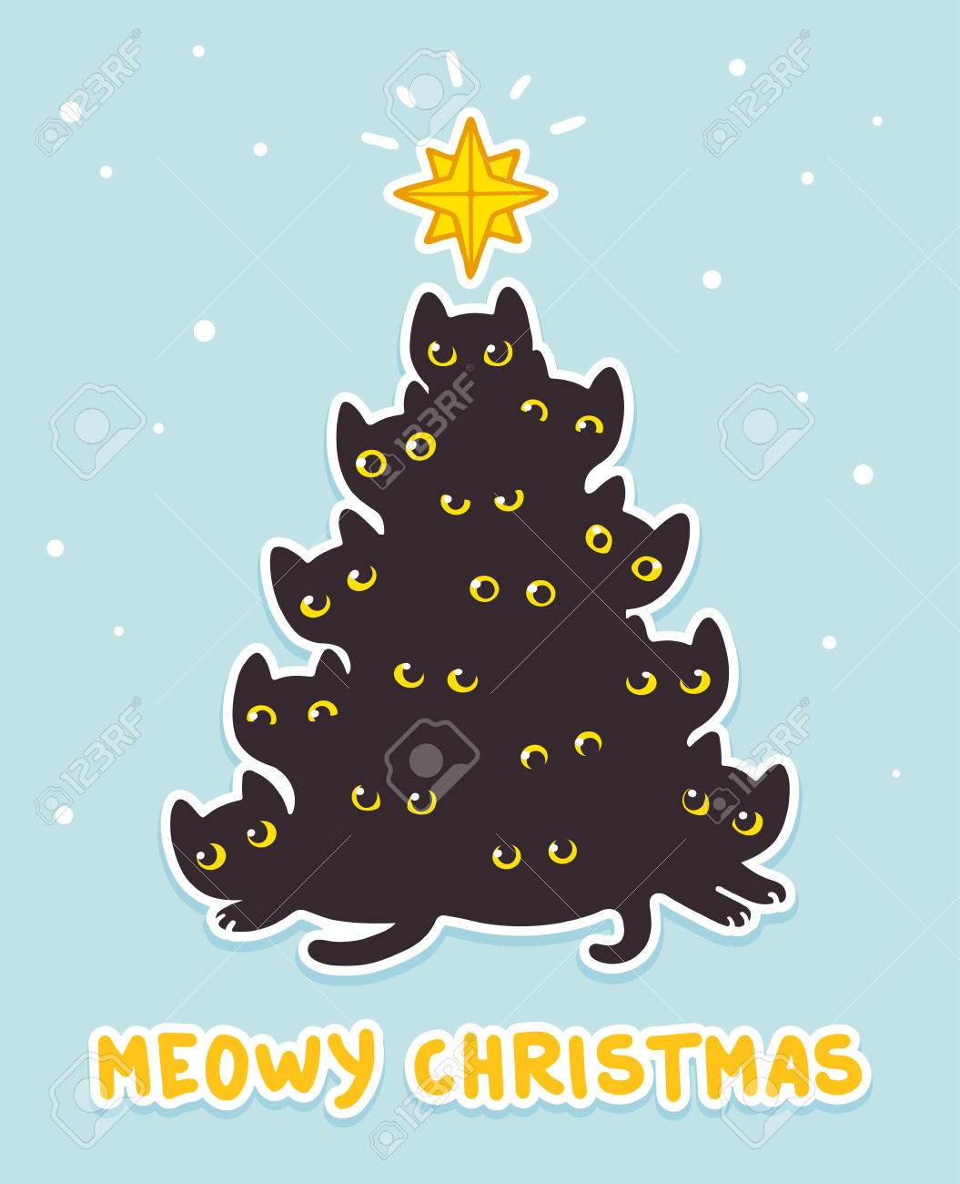 Cute Christmas Tree Of Cartoon Black Cats With Text Meowy Christmas. Funny  Greeting Card For