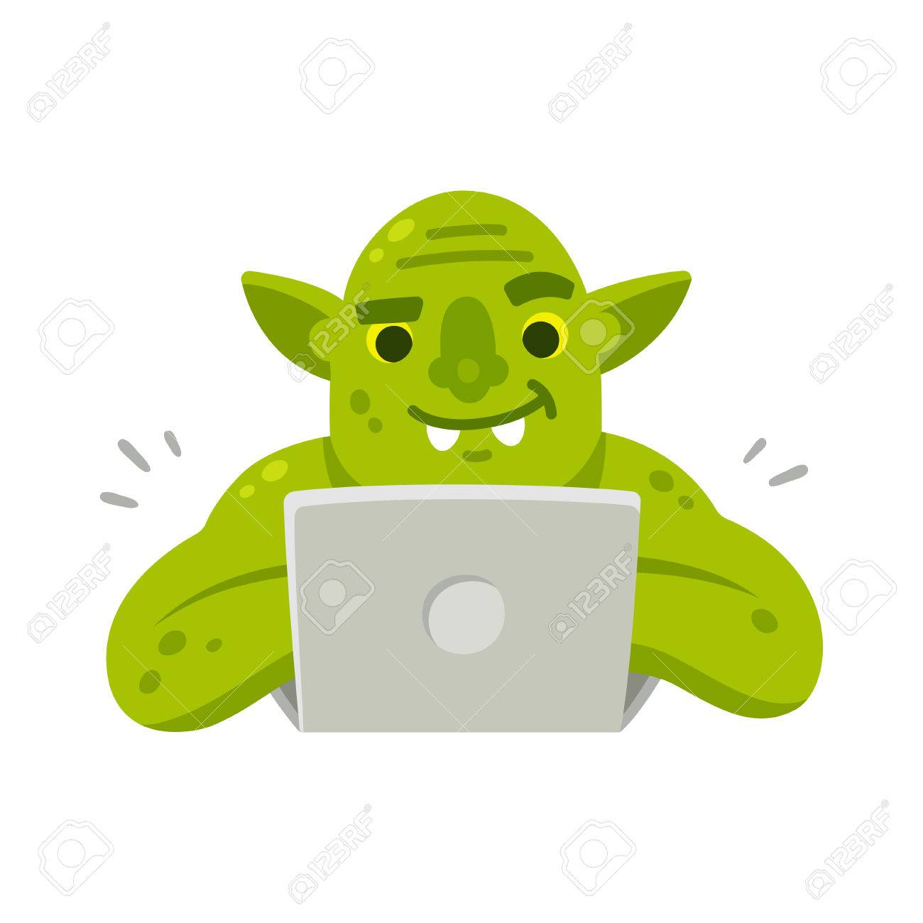 internet troll with computer funny cartoon vector illustration