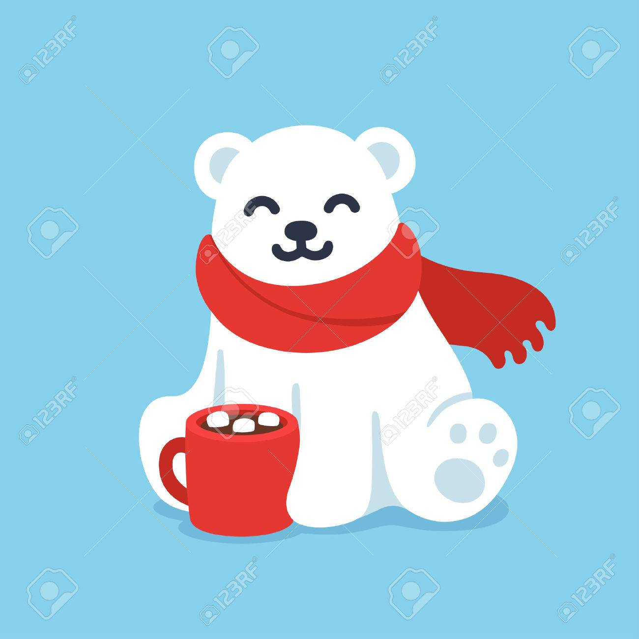 Cute cartoon polar bear in red scarf with hot chocolate cup. Christmas and winter holidays greeting card vector illustration. - 67688504
