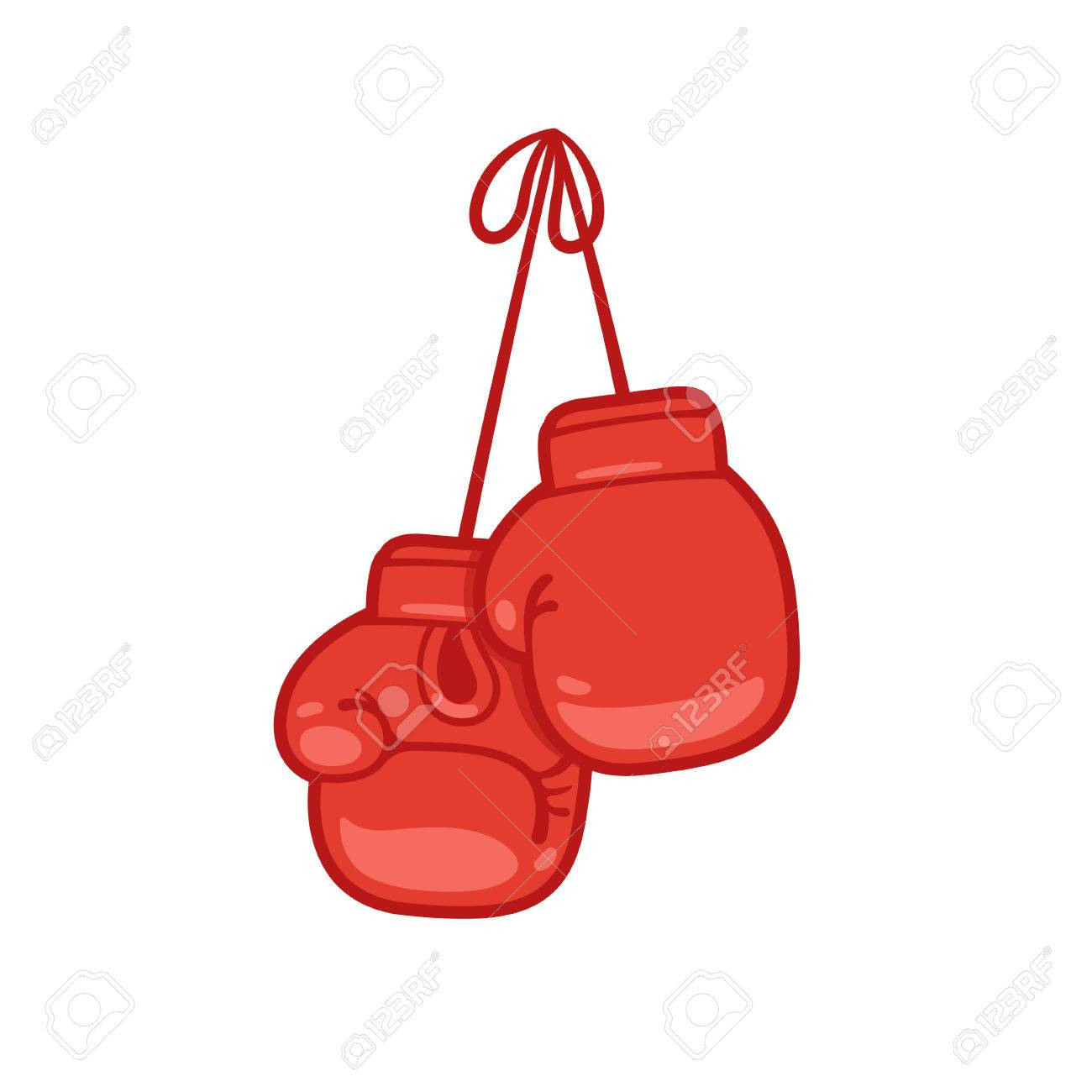 hanging boxing gloves cartoon vector illustration royalty free rh 123rf com  free clipart boxing gloves