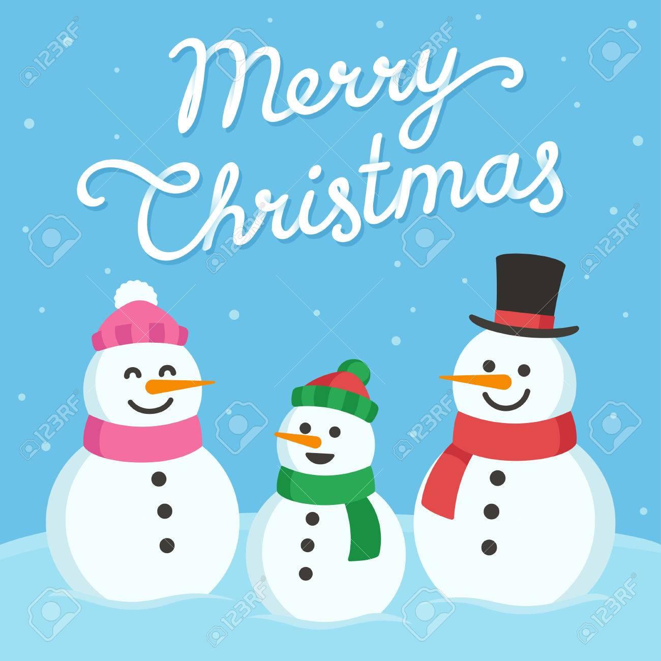 Auguri Di Natale Famiglia.Vettoriale Carino Biglietto Di Auguri Di Natale Famiglia Pupazzo