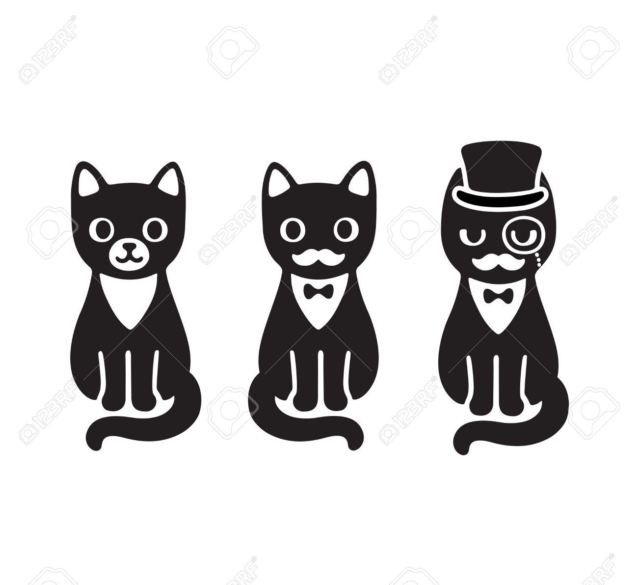 Cat Cute Cartoon Black And White