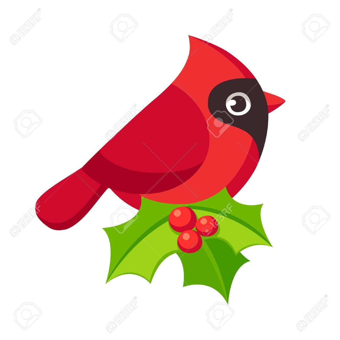 Illustration D Oiseau Cardinal Rouge Dessin Anime Mignon Avec Des