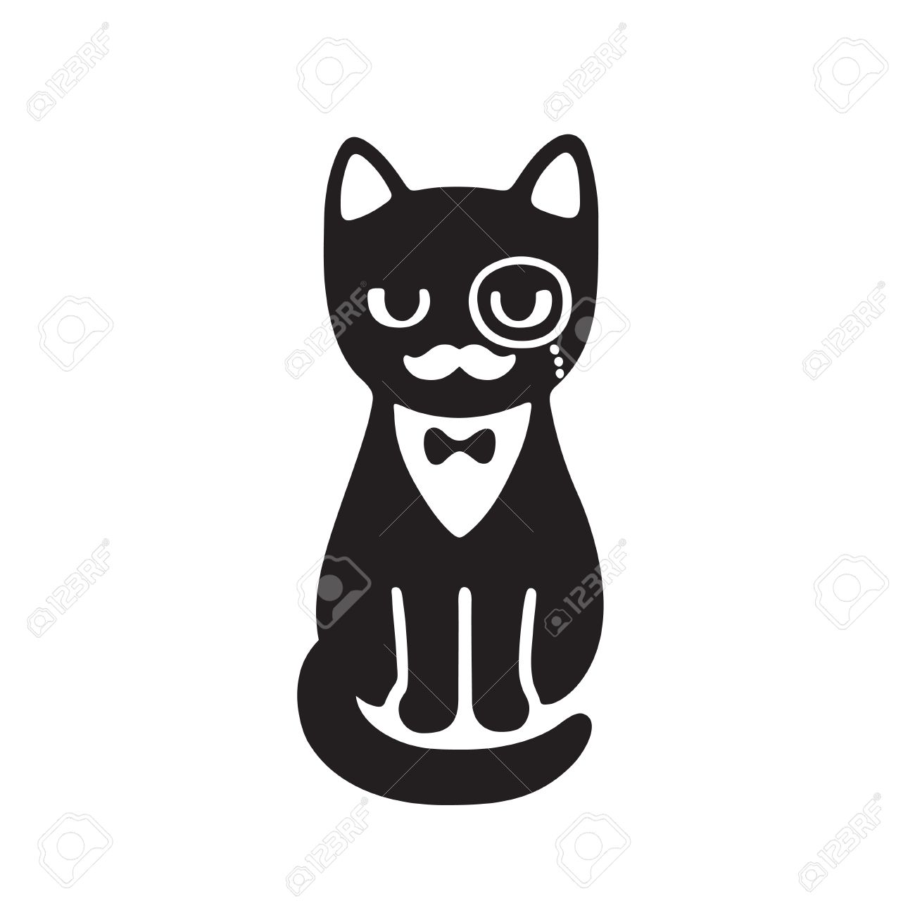 3aba1d395912 Tuxedo cat with monocle and bow tie. Funny cartoon vector drawing. Black  and white