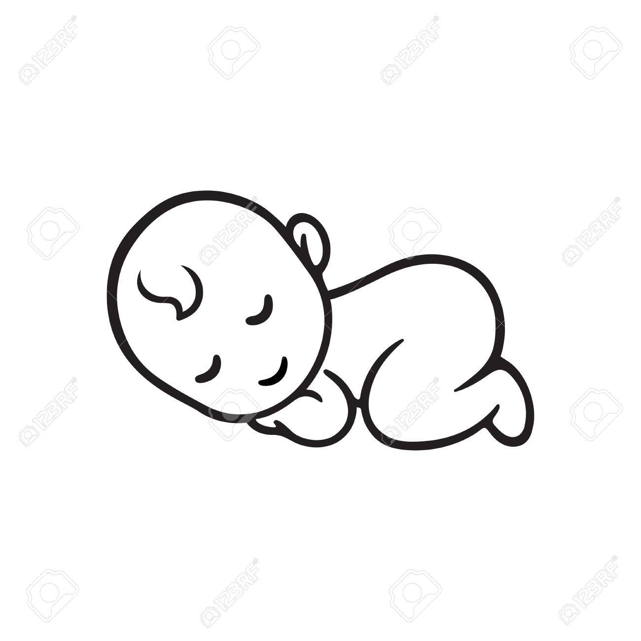 Sleeping baby silhouette, stylized line. Cute simple vector illustration. - 68834647