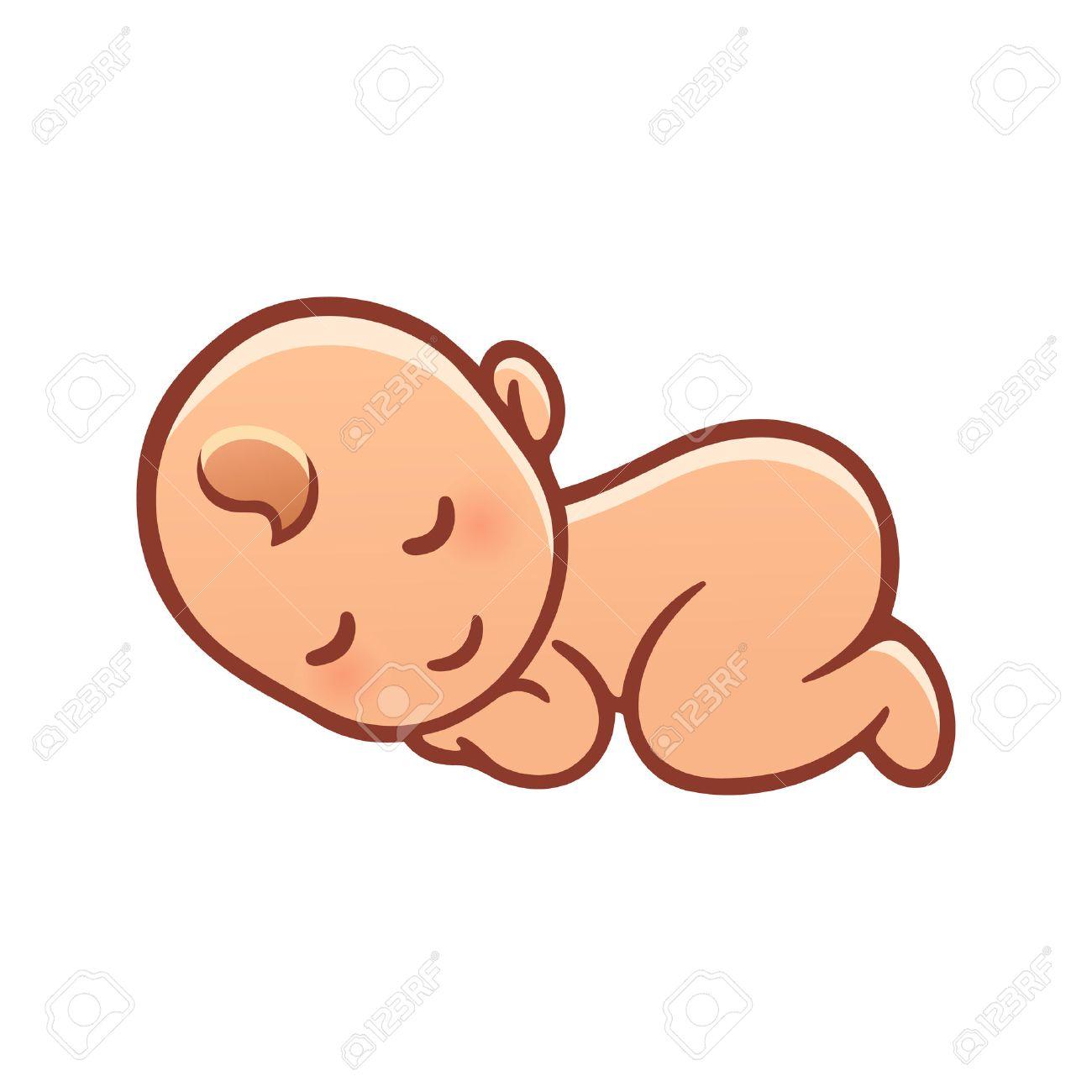 Dibujo Lindo Bebe Para Dormir Ilustracion Vectorial De Dibujos