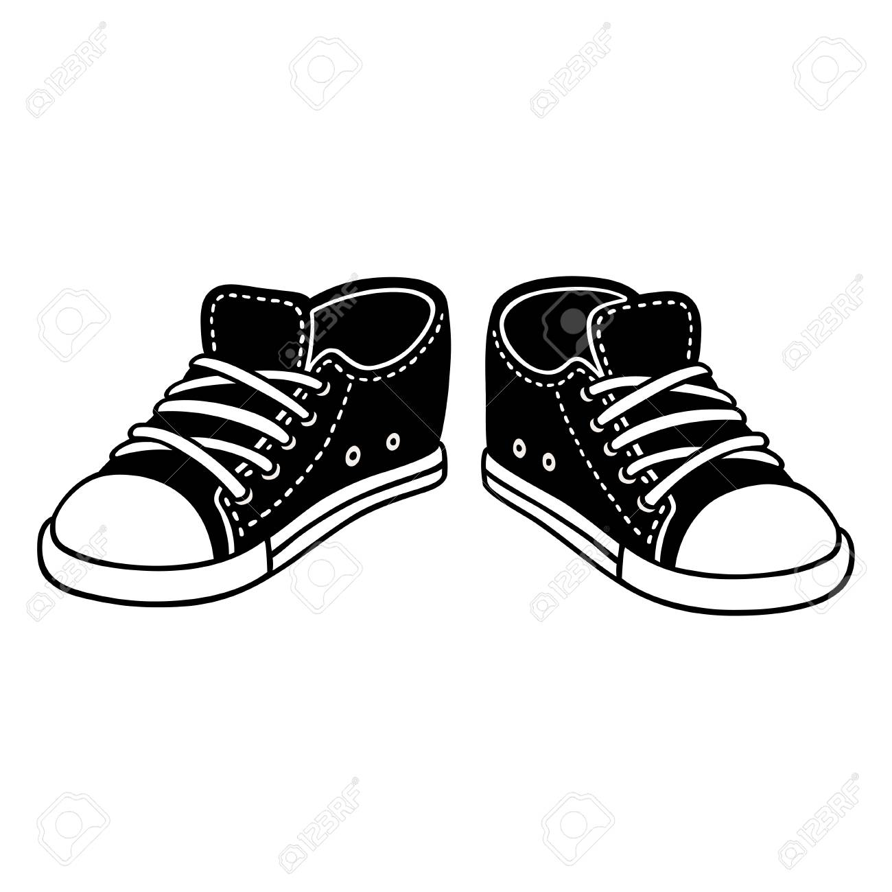 black canvas sneakers cartoon drawing classic sports shoes hand