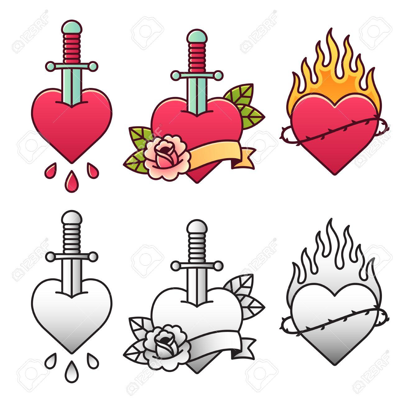 Conjunto Tradicional Del Tatuaje Del Corazón Con La Daga La Rosa