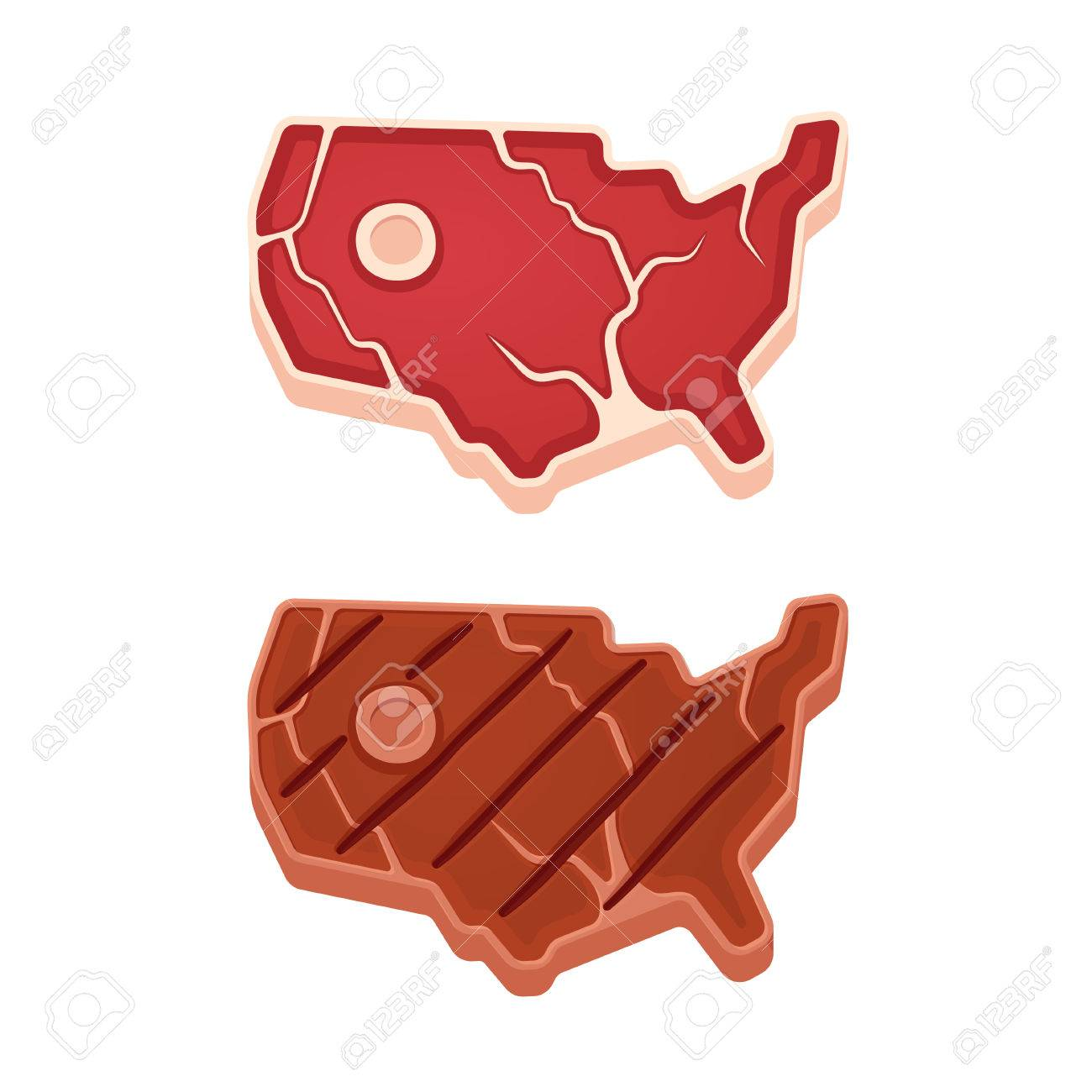 Beef Steak In Shape Of USA Map Raw And Grilled American Meat - Usa map shape