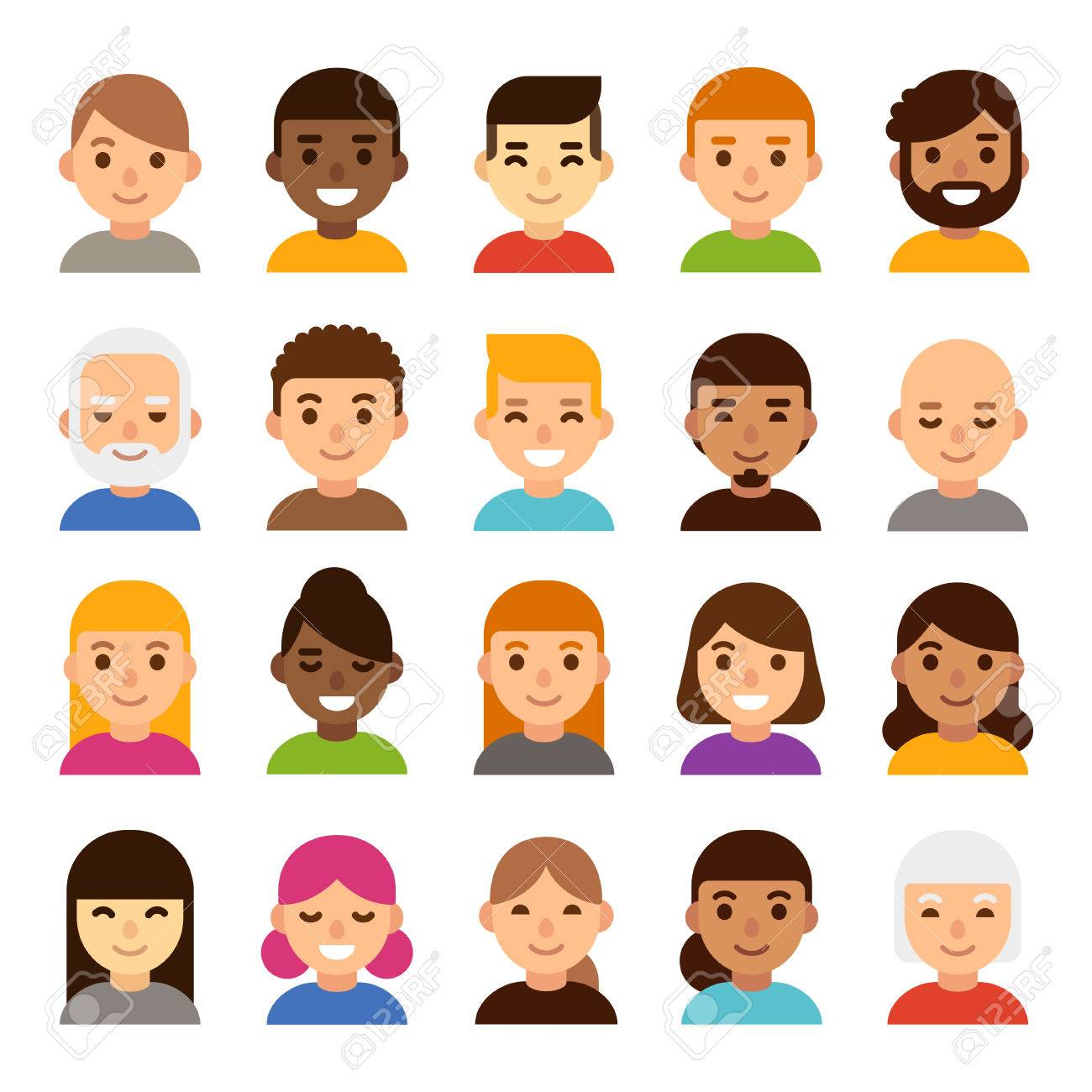 Set of diverse male and female avatars, simple flat cartoon style. Cute and minimalistic people faces, vector illustration. - 71507613