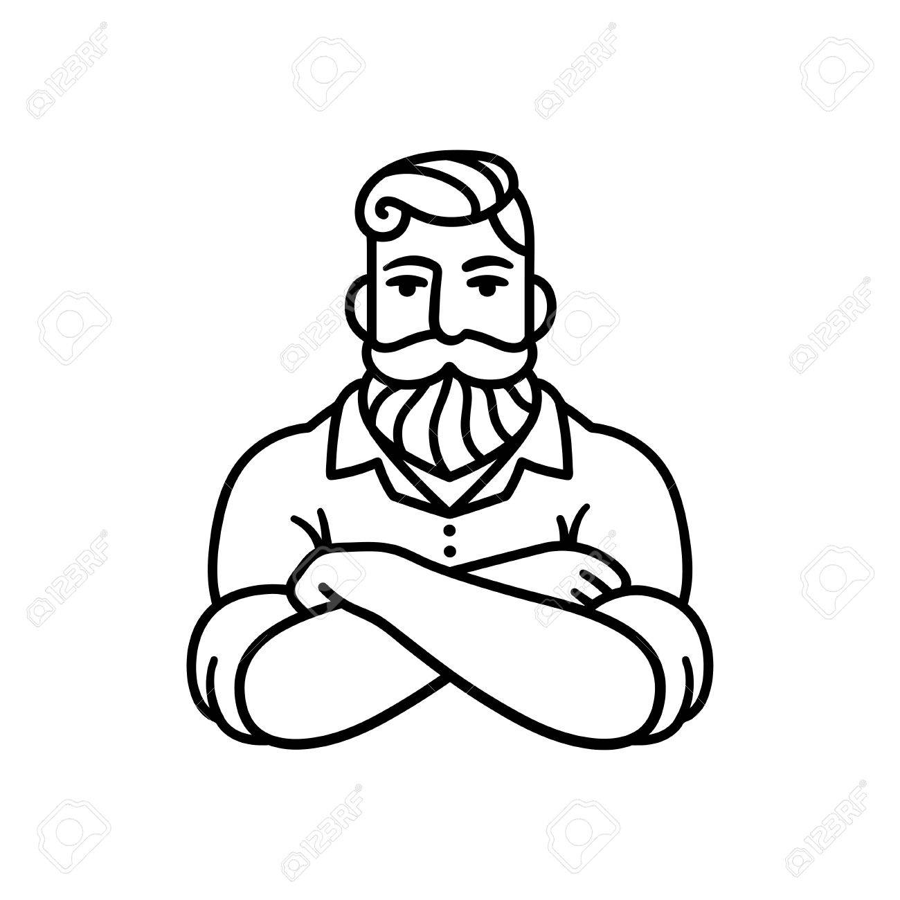 Black and white line drawing of bearded man with arms crossed stylish hipster illustration