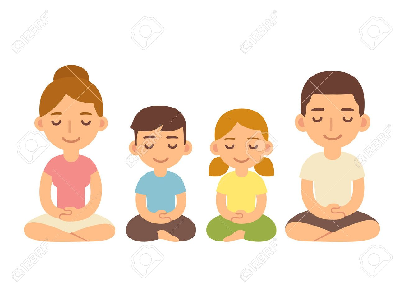 Family meditating sitting in lotus pose, young adults and children. Cute cartoon meditation and mindfullness lifestyle illustration. - 71507625