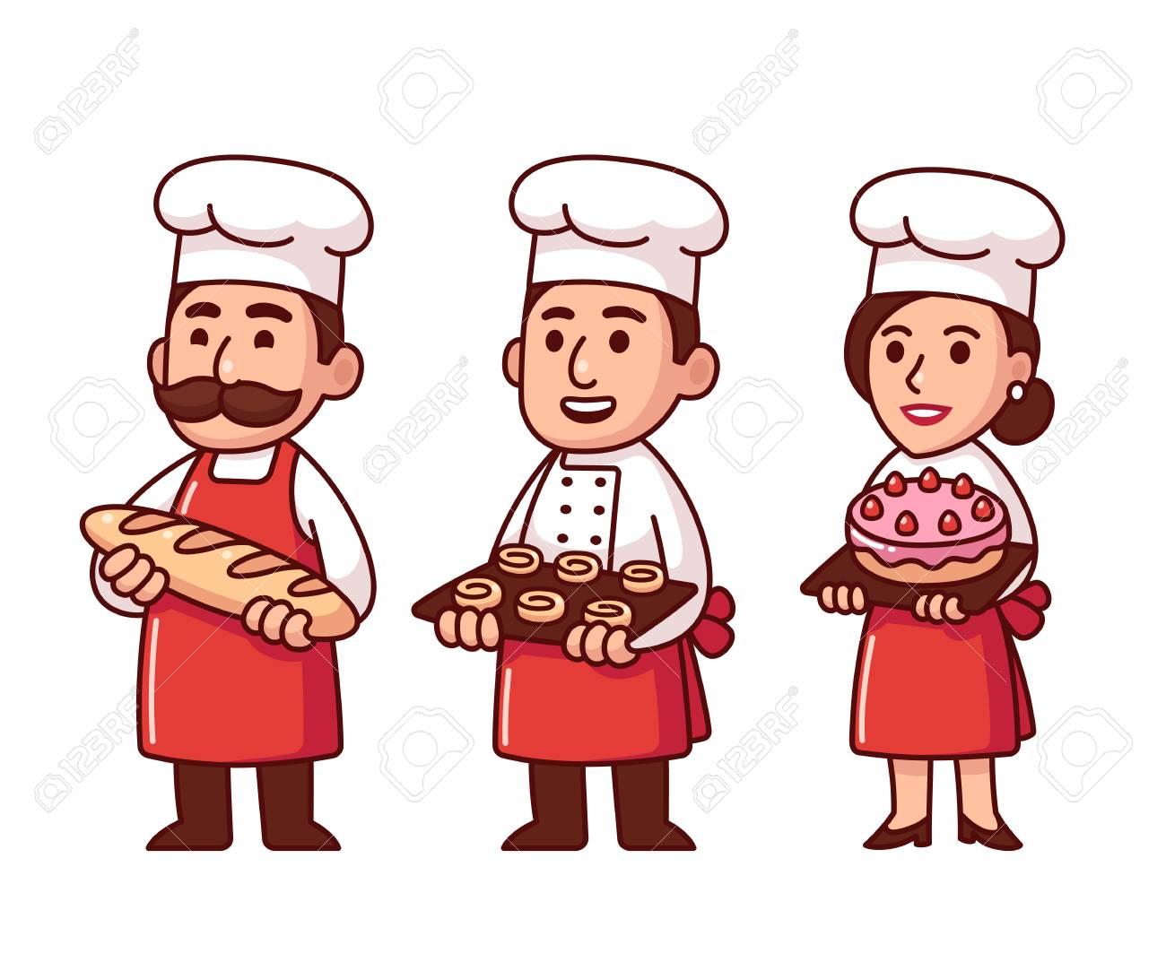 Personnages De Dessin Animé Boulanger En Uniforme Avec Du Pain Des