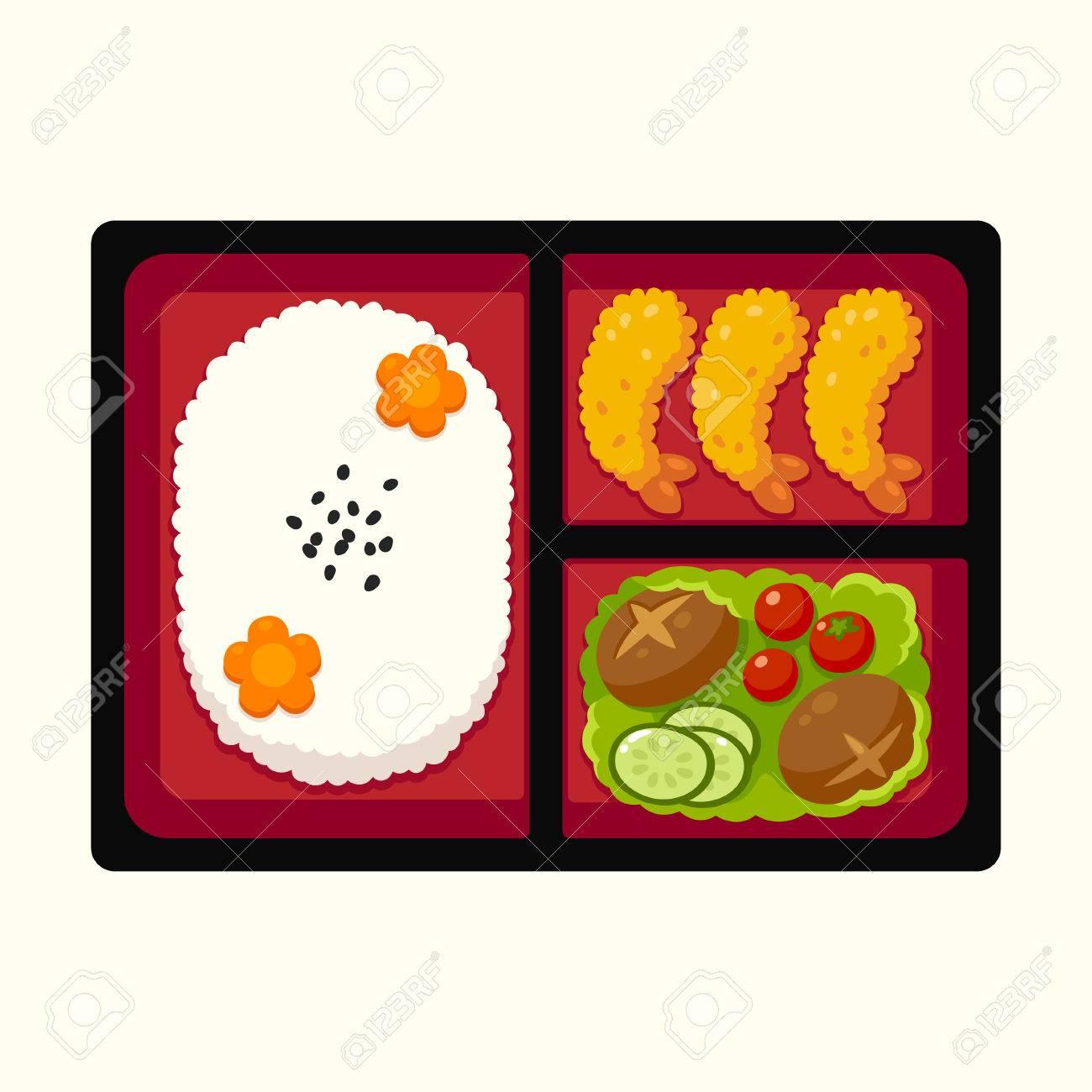Traditional Japanese Bento Box Lunch With Rice Tempura Shrimp