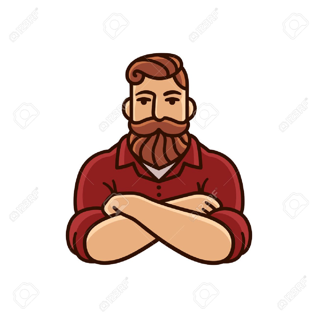 Drawing of man with beard and mustache with arms crossed. Stylish hipster illustration. - 73277207