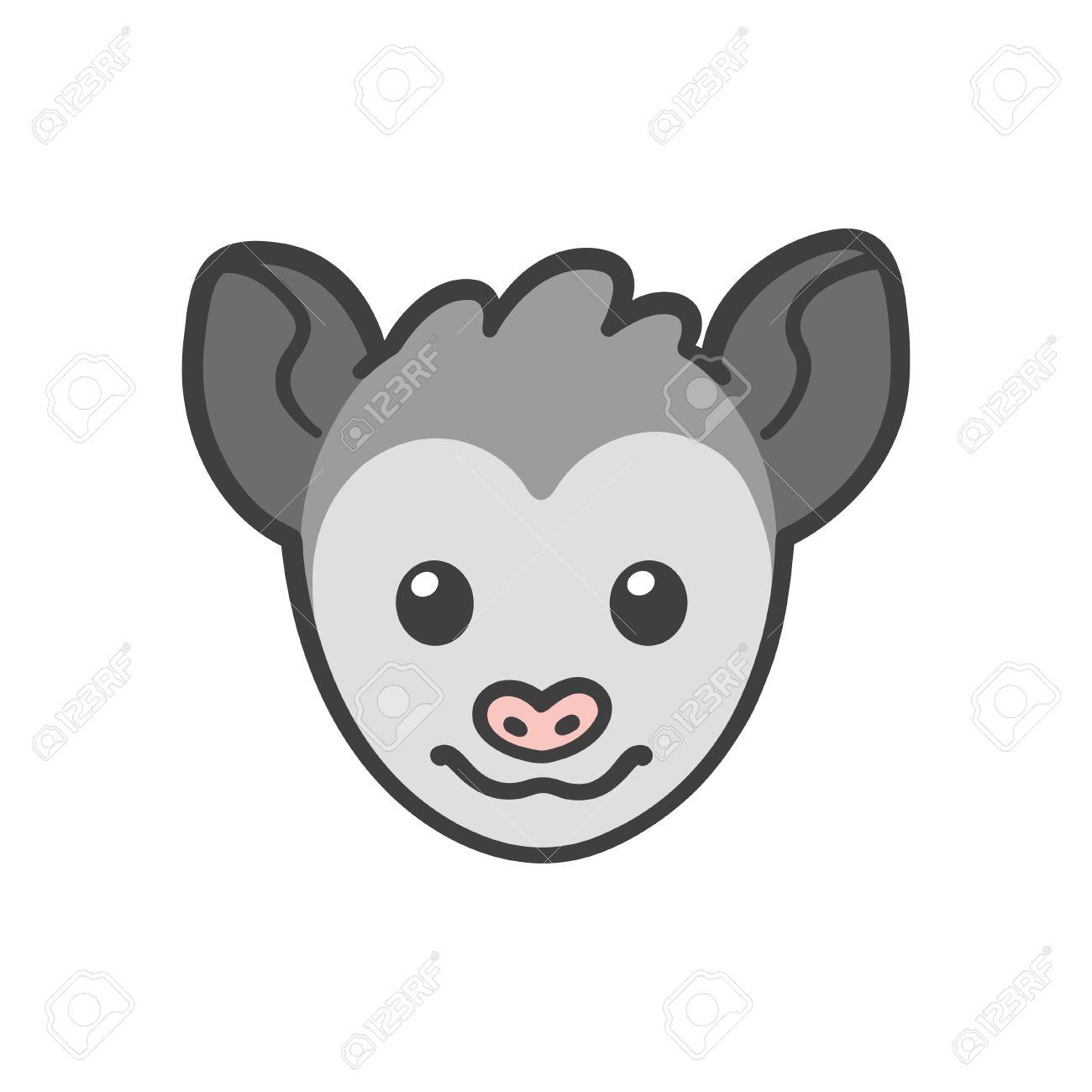Cute Cartoon Smiling Possum Head, Funny Animal Drawing. Royalty ...