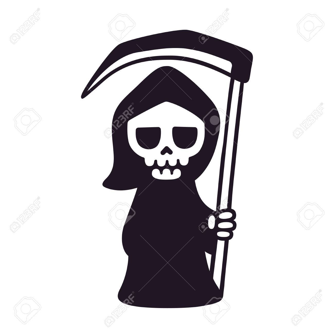 Cute death with scythe isolated black and white drawing cartoon