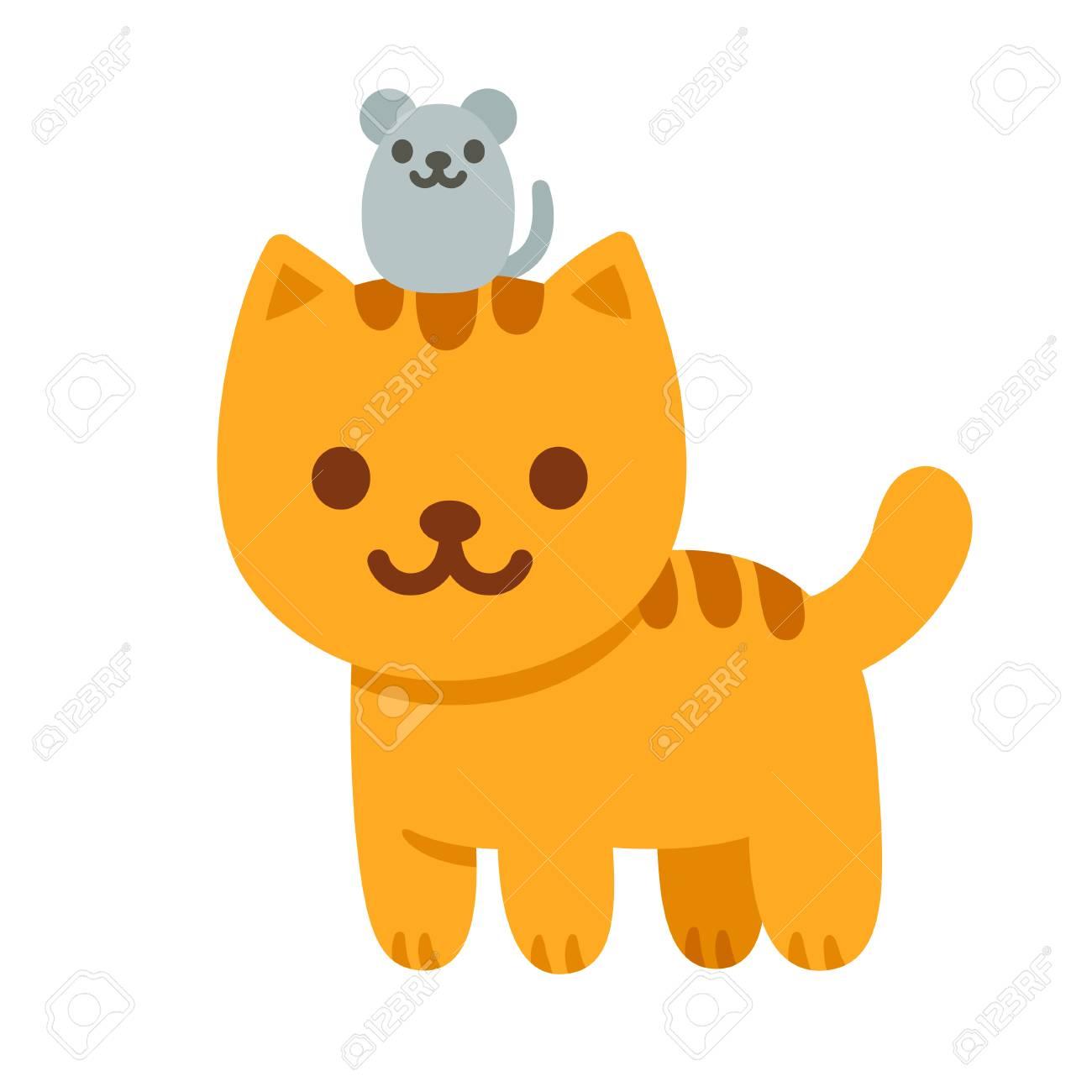 Gato De Dibujos Animados Y El Ratón Ilustración Vectorial. Gatito ...