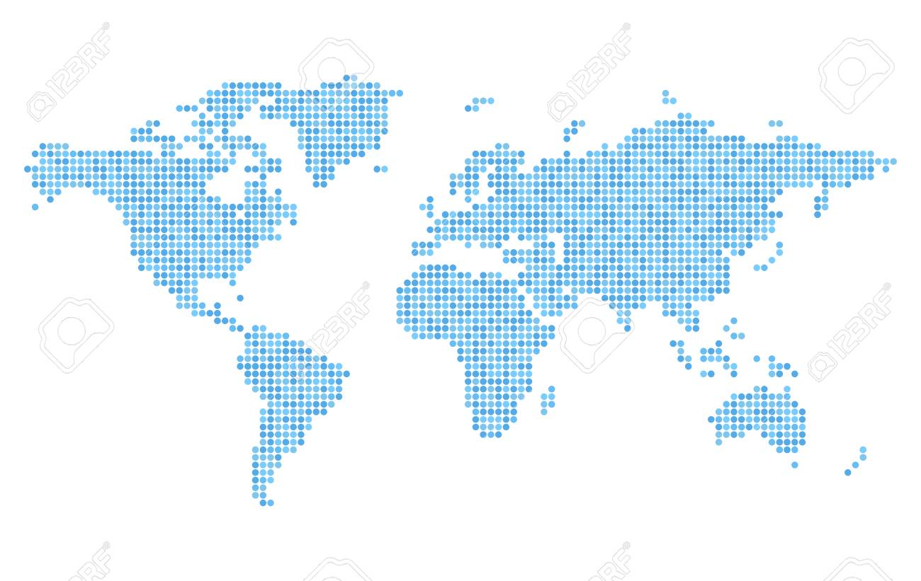 Pixelated blue world map on white background stylized dotted pixelated blue world map on white background stylized dotted continents silhouettes simple flat vector gumiabroncs Gallery