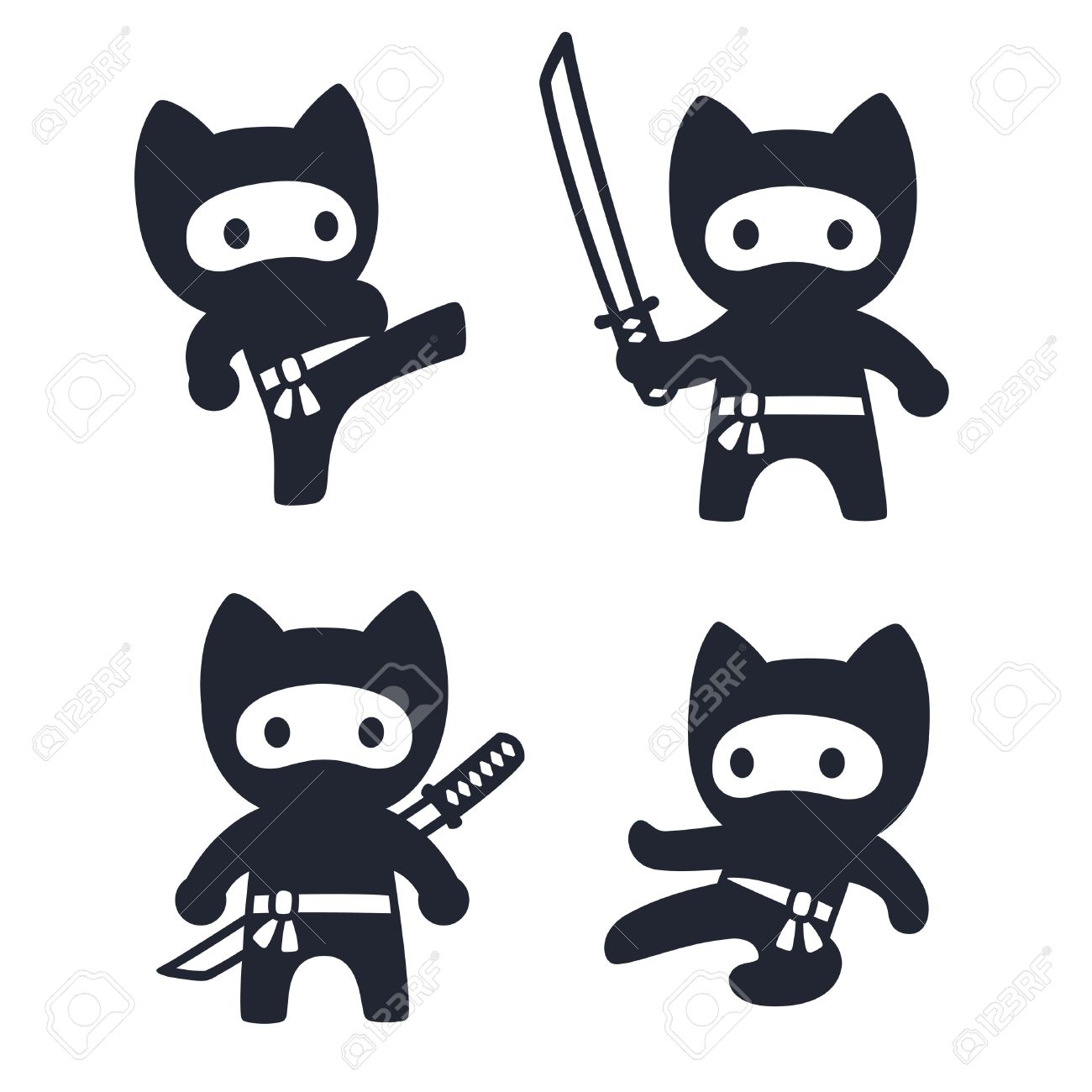 Cute cartoon ninja cat set adorable vector black and white drawings in simple modern japanese