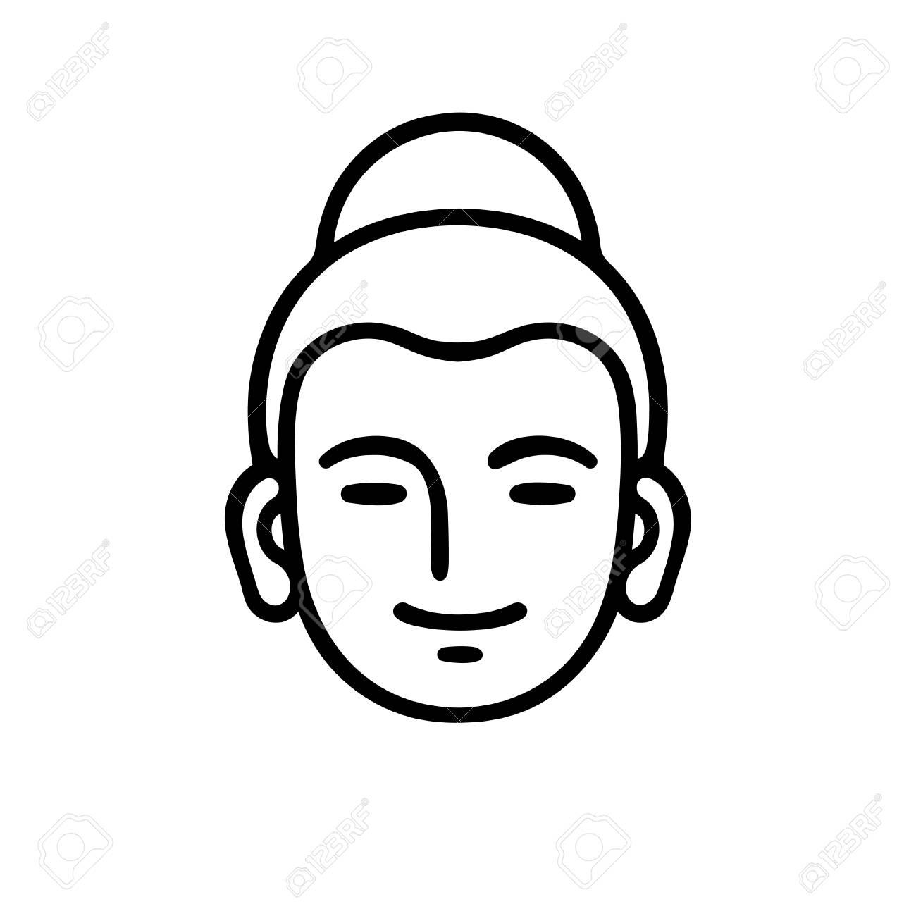 Simple Smiling Buddha Head Icon Or Logo Minimal Black And White