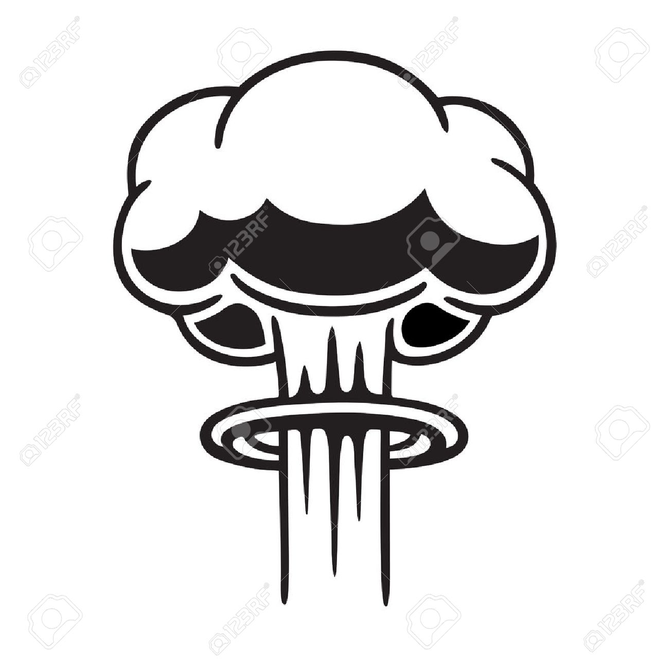 cartoon comic style nuclear mushroom cloud illustration black rh 123rf com  mushroom cloud images clip art