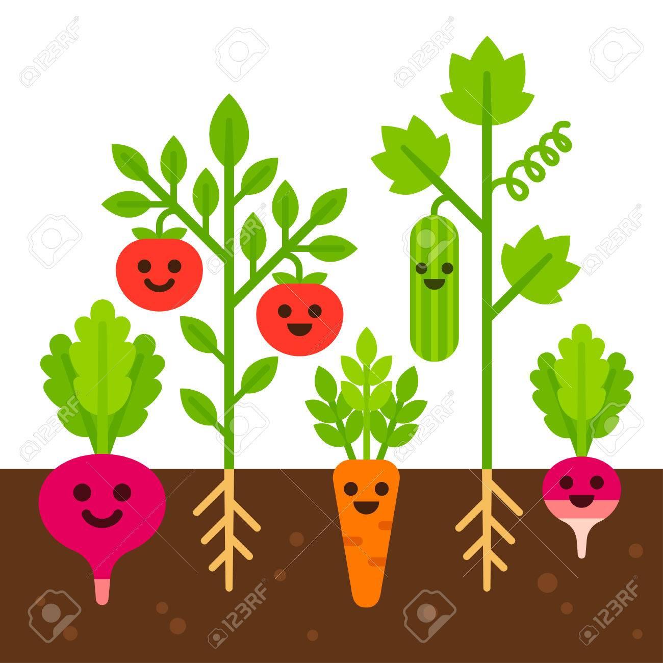 かわいい野菜な土壌で成長の笑顔します。野菜ガーデン セット、フラット