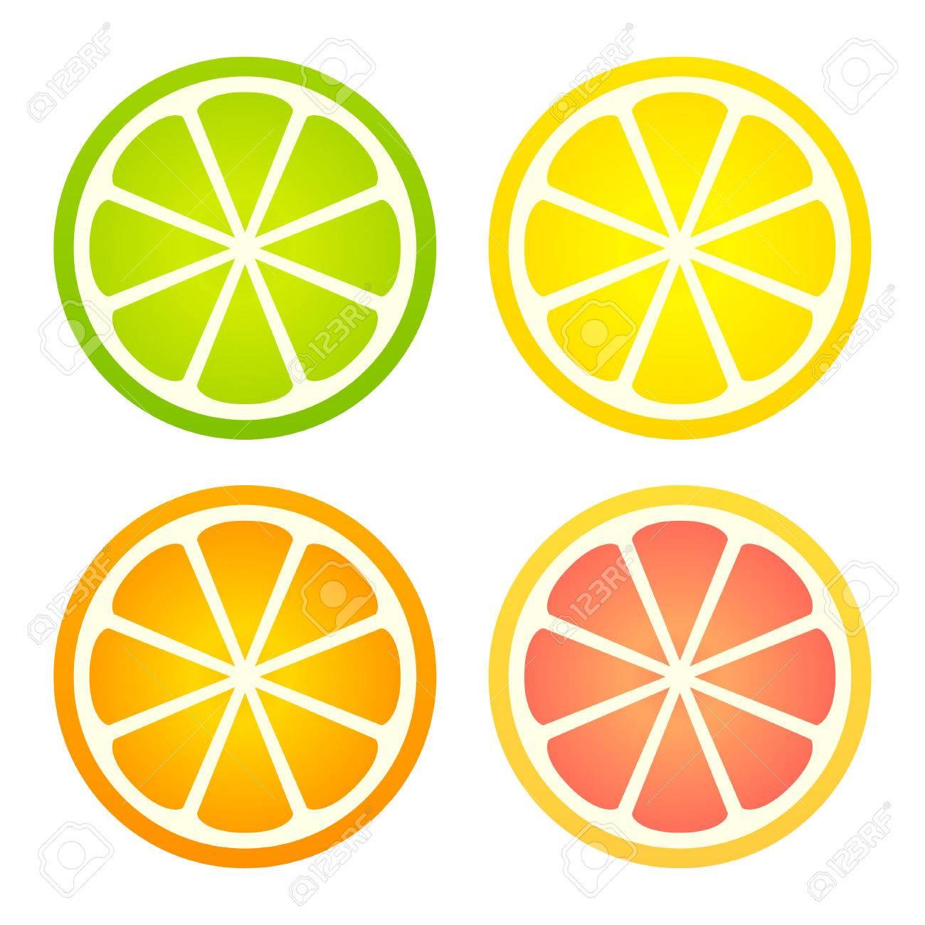 柑橘系の果物のアイコン セットレモンライムオレンジグレープ