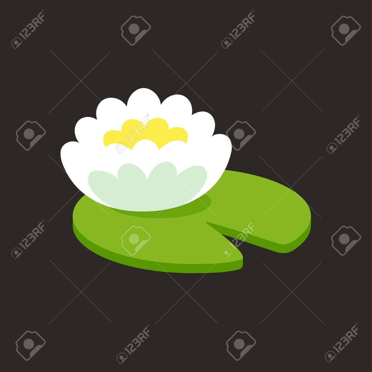 Fleur De Lotus Blanc Avec Feuille Icone Simple Ou Logo