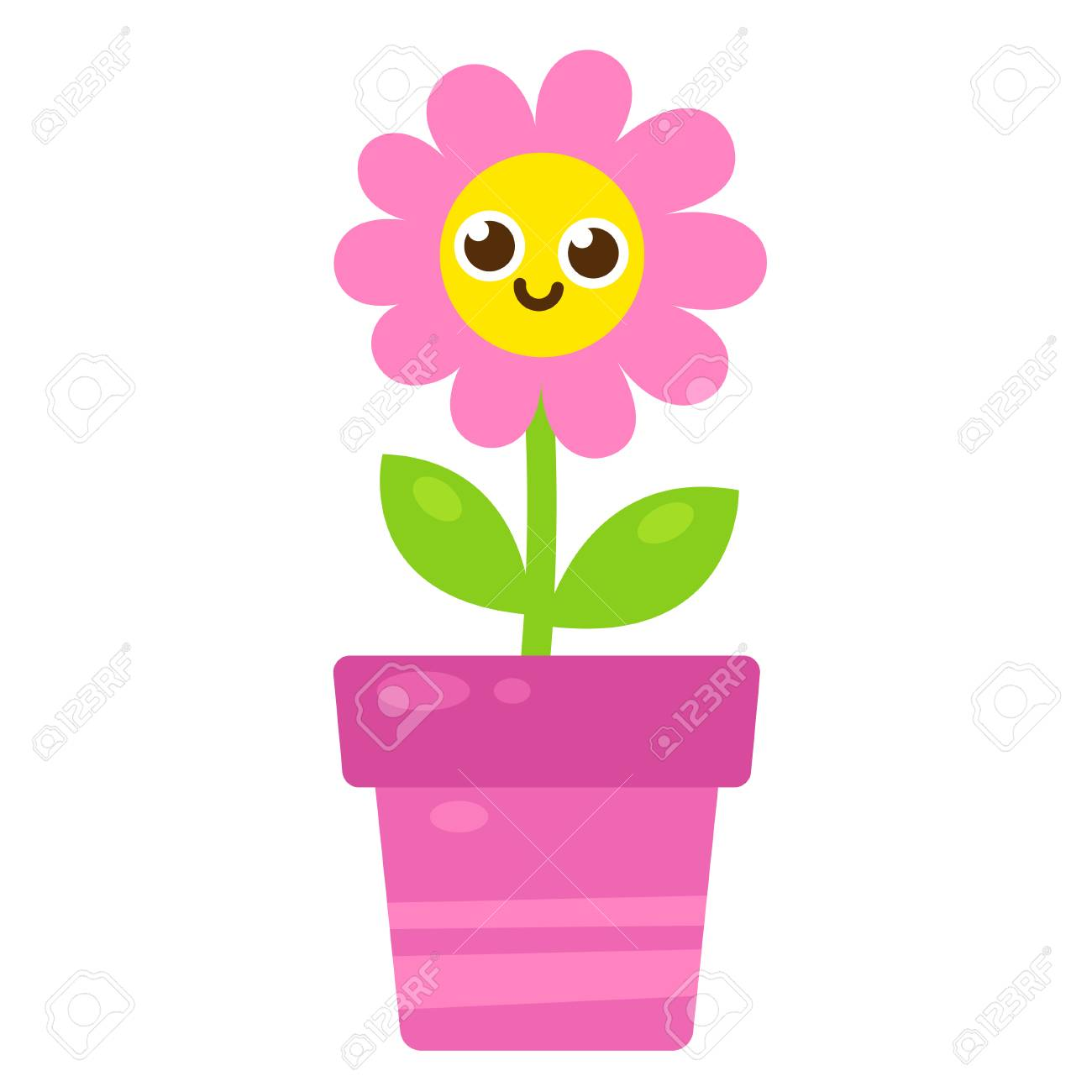 Cute Cartoon Pink Flower With Smiling Face In Flower Pot Vector
