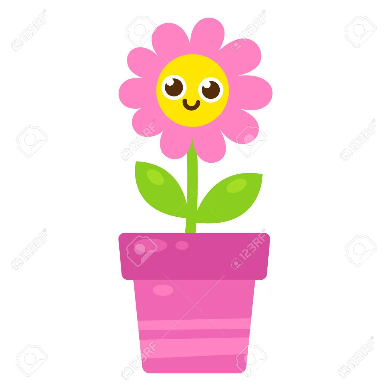 Fleur Rose Dessin Anime Mignon Avec Le Visage Souriant Dans Le Pot