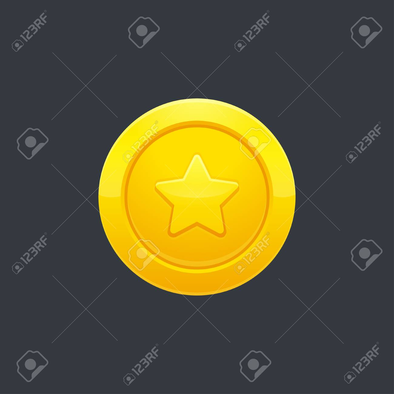 Video game golden coin or medal with star shape on dark background, vector illustration. Interface design element. - 78548259