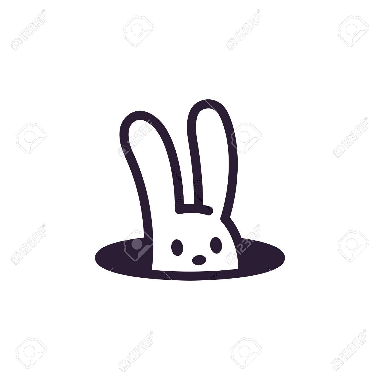 Logo De Trou De Lapin Simple Et Minimaliste Illustration De Vecteur
