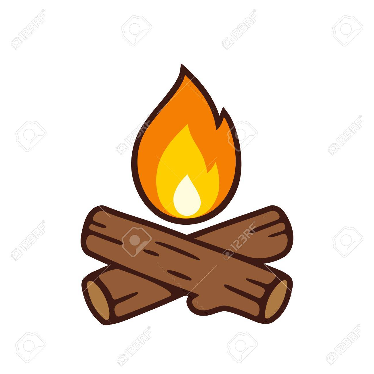 campfire vector icon illustration isolated on white crossed rh 123rf com campfire cartoon gif campfire action songs