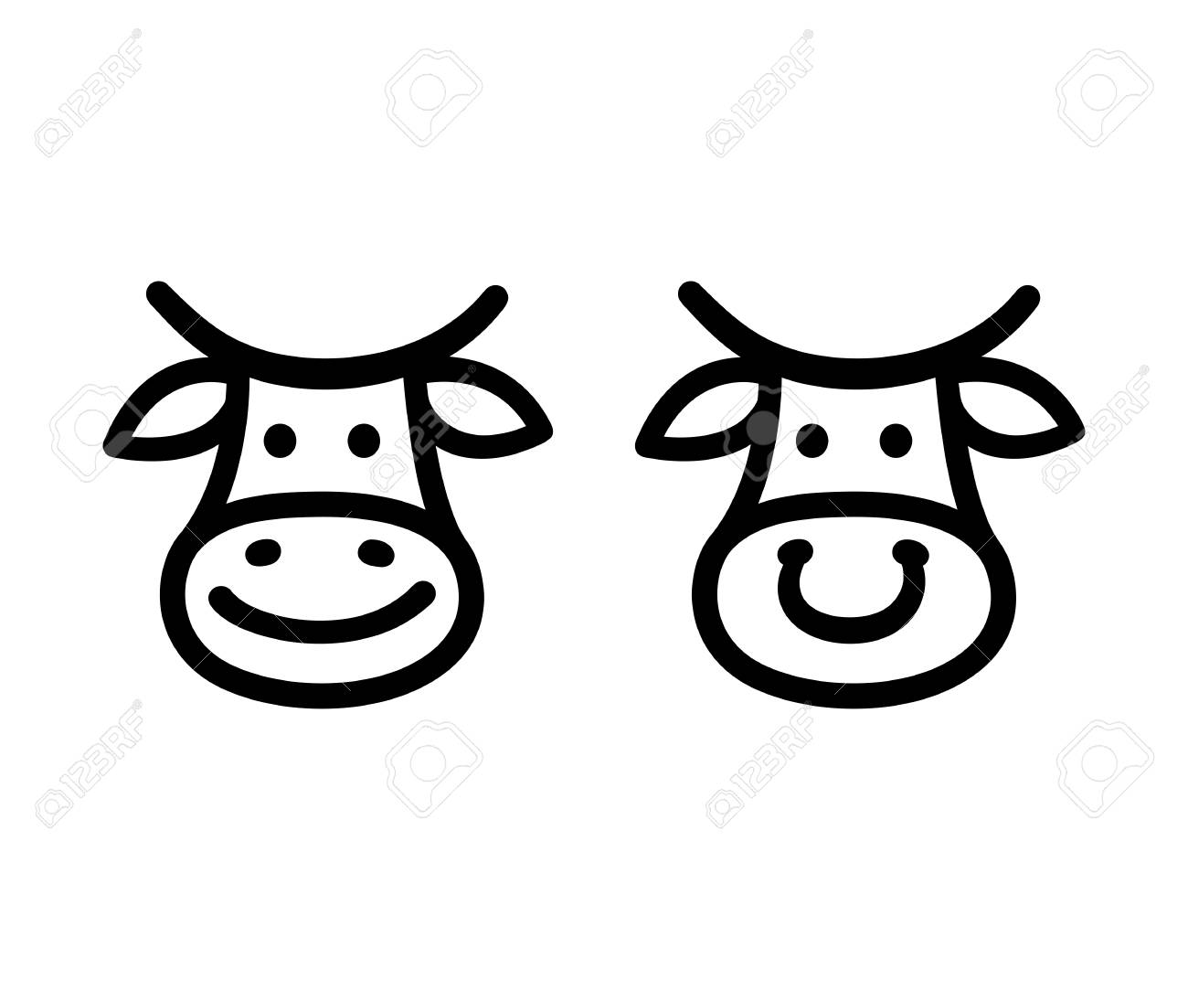 Cute Cartoon Cow Face Icon, Smiling And With Nose Ring. Hand ...