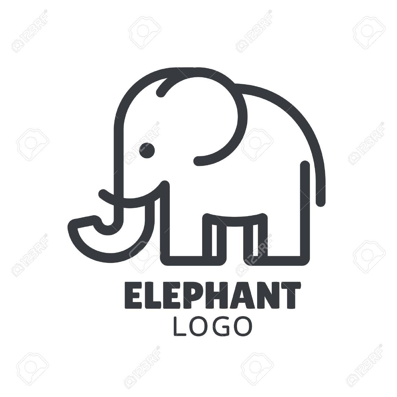 8c50a9620bd1 Simple and minimal elephant logo illustration. Modern vector line icon.  Stock Vector - 79987075
