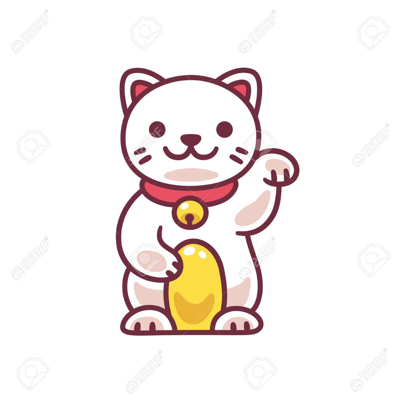 Dessin animé mignon Maneki Neko, chat porte,bonheur japonais. Dessin  vectoriel adorable de bonne chance Feng Shui kitty.