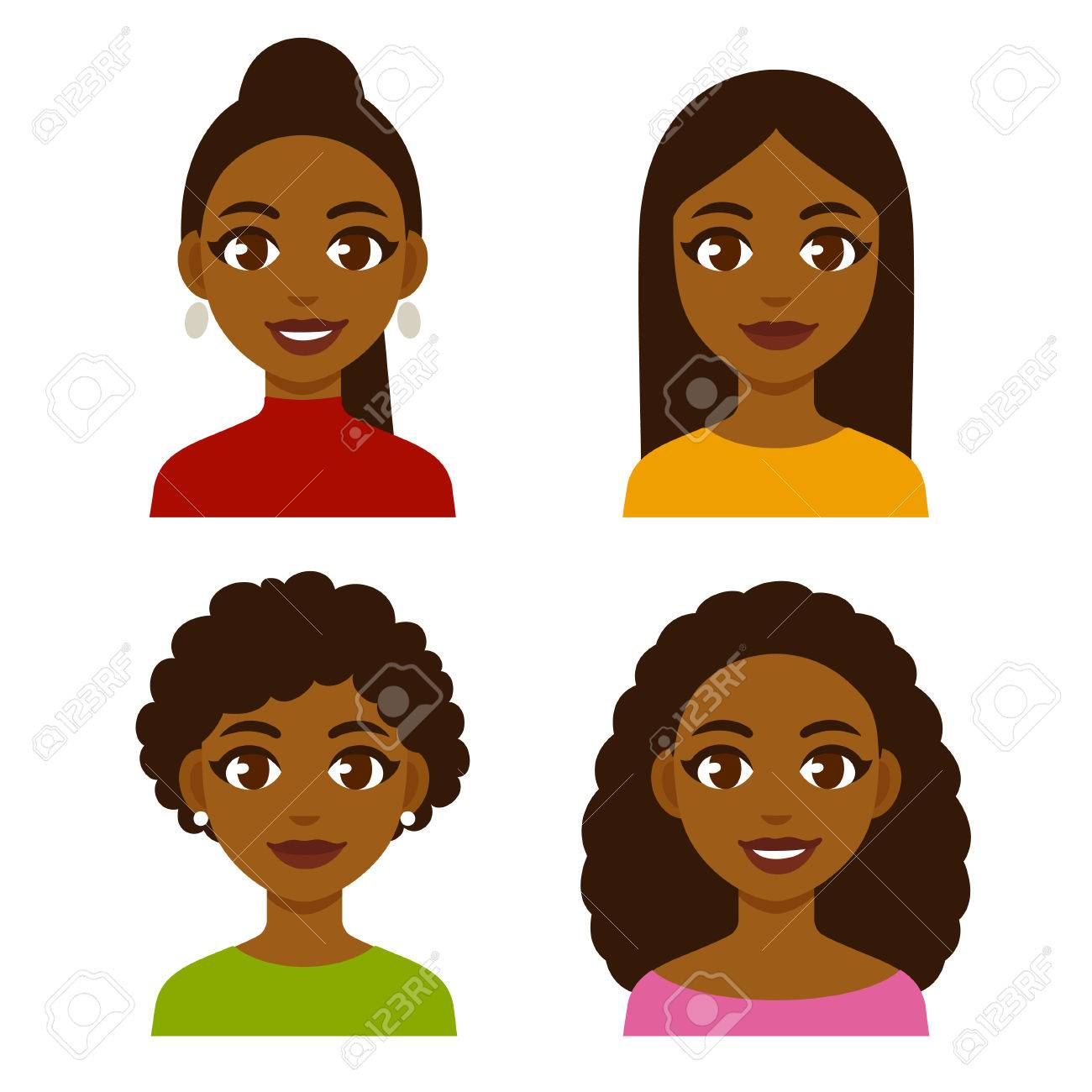 Cute Cartoon Black Girls With Natural Hairstyles And Straightened