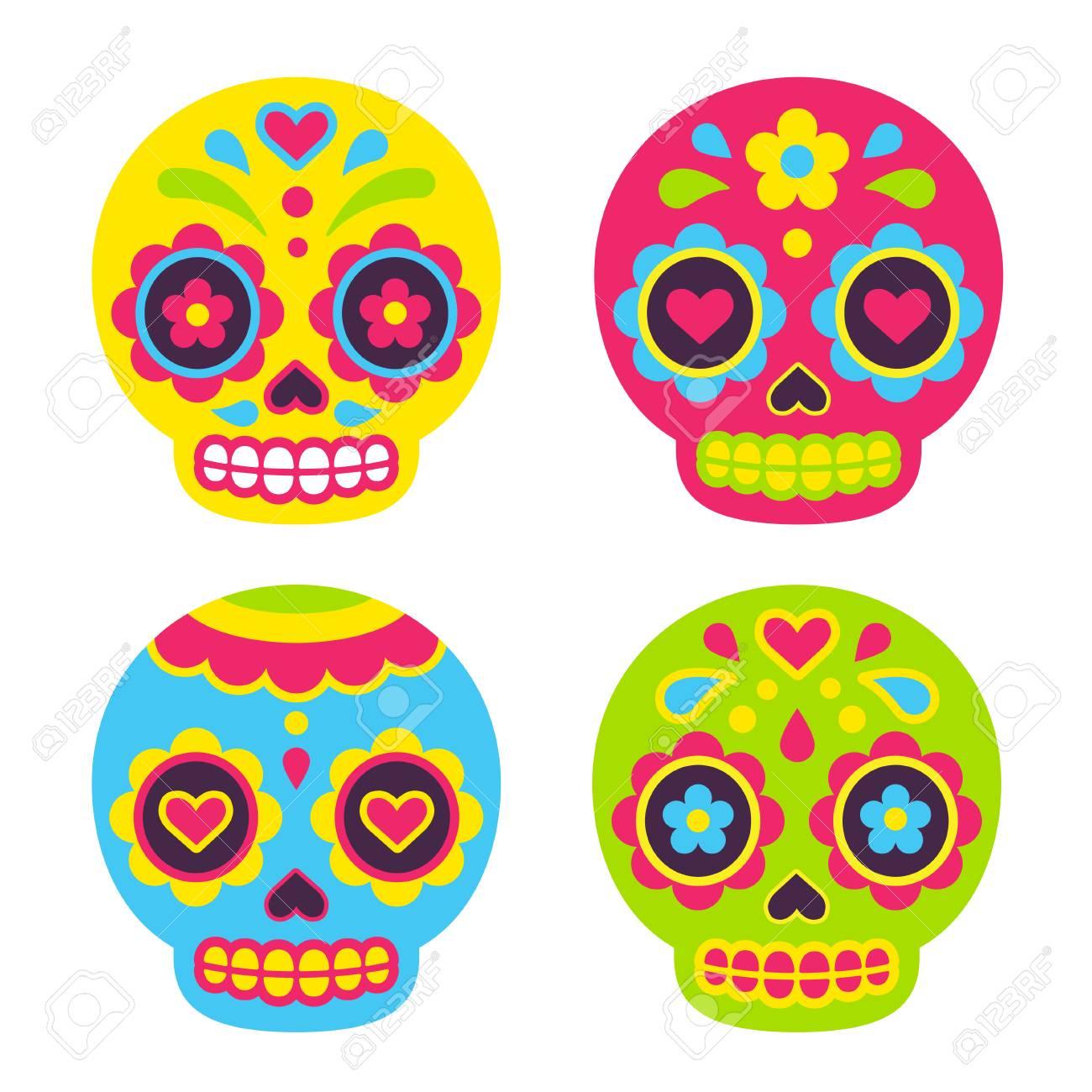 Mexican Dia de los Muertos (Day of the Dead) sugar skulls. Cute simple vector illustration in flat cartoon style. - 81208143