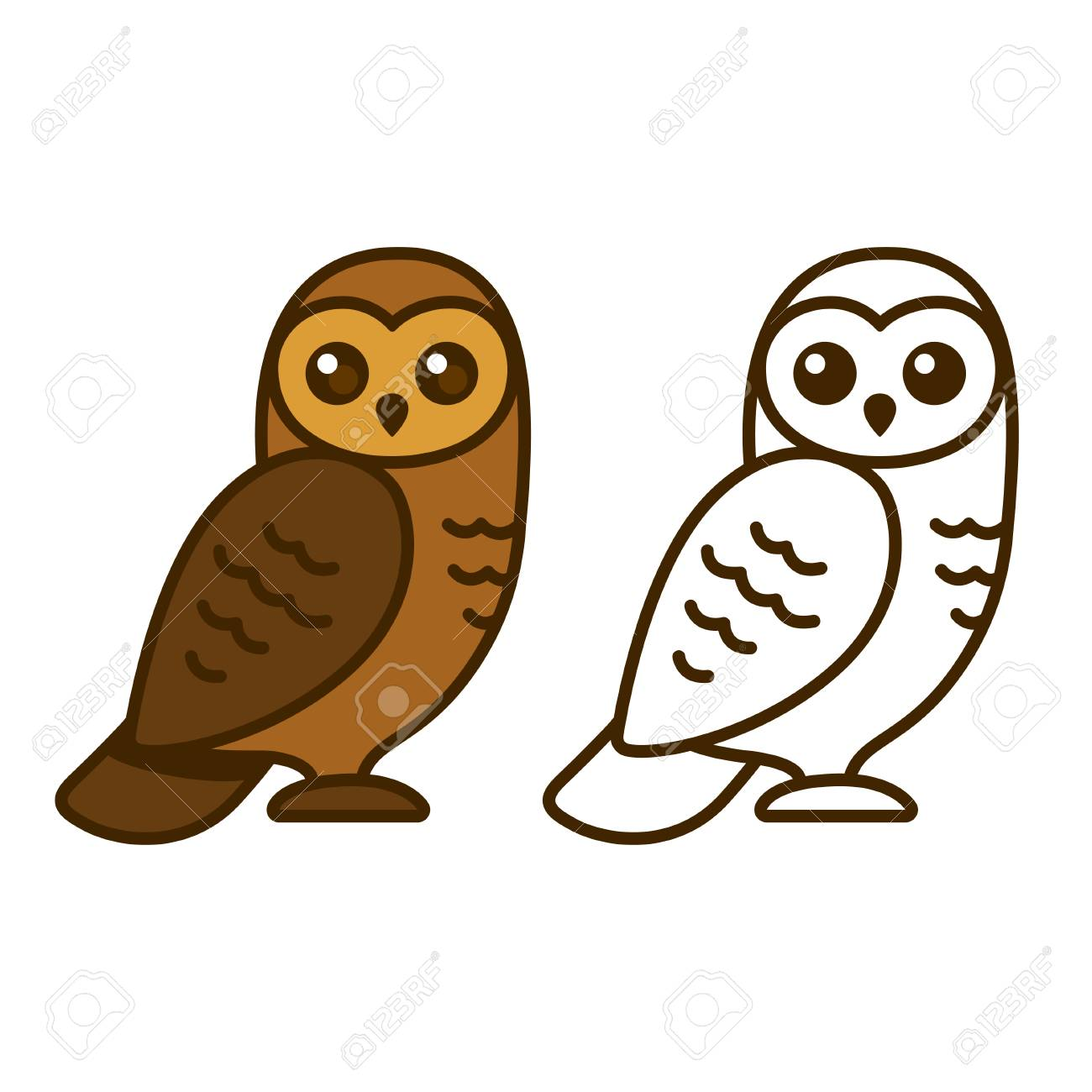 - Cute Cartoon Owl Vector Illustration. Color Drawing And Line