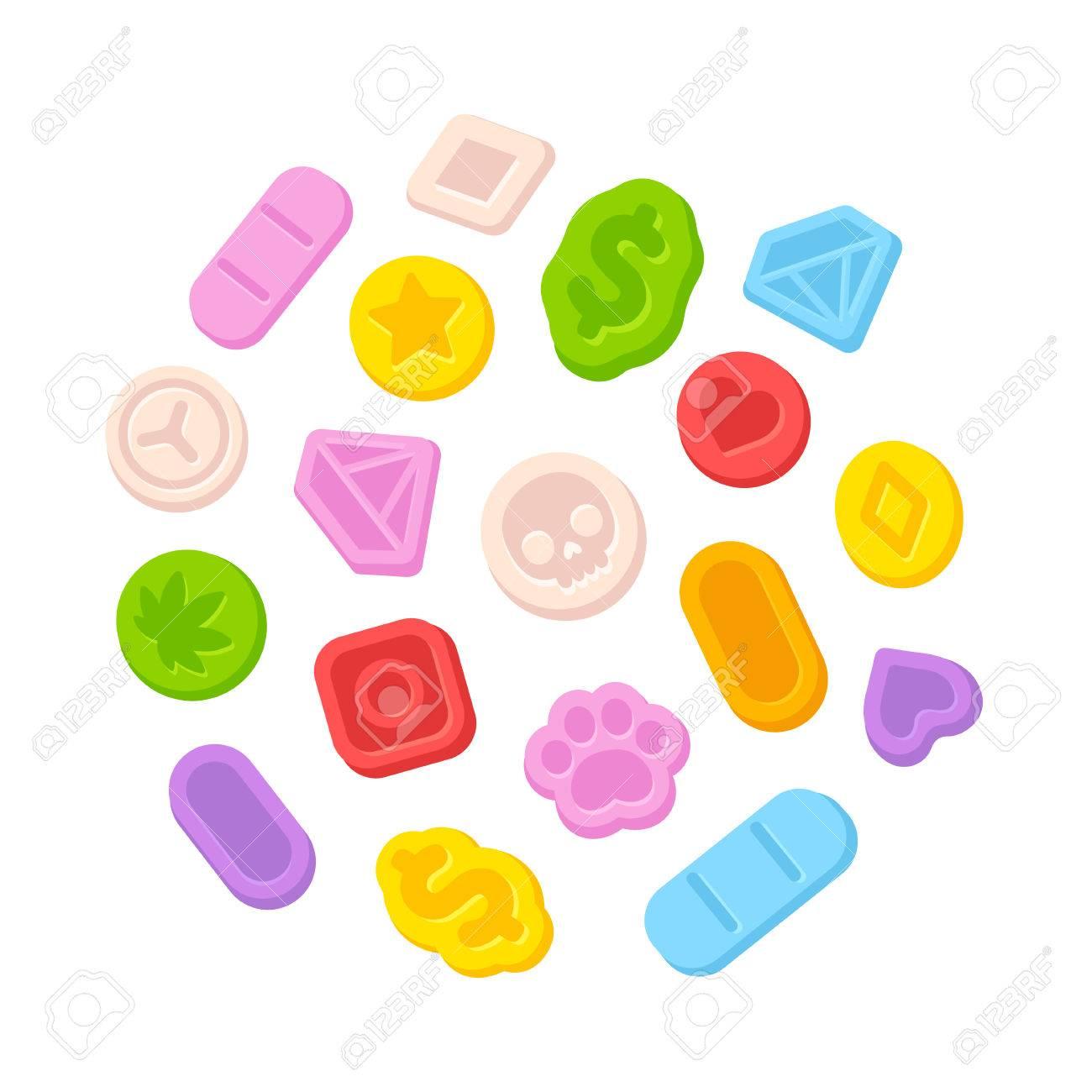 Bright cartoon ecstasy MDMA pills isolated on white background