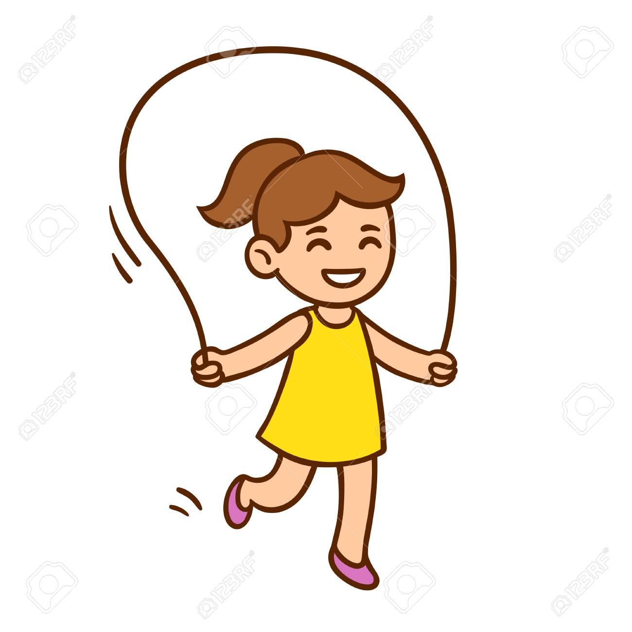 vector illustration of cute cartoon little girl jumping rope rh 123rf com cartoon clip art free images cartoon clipart images