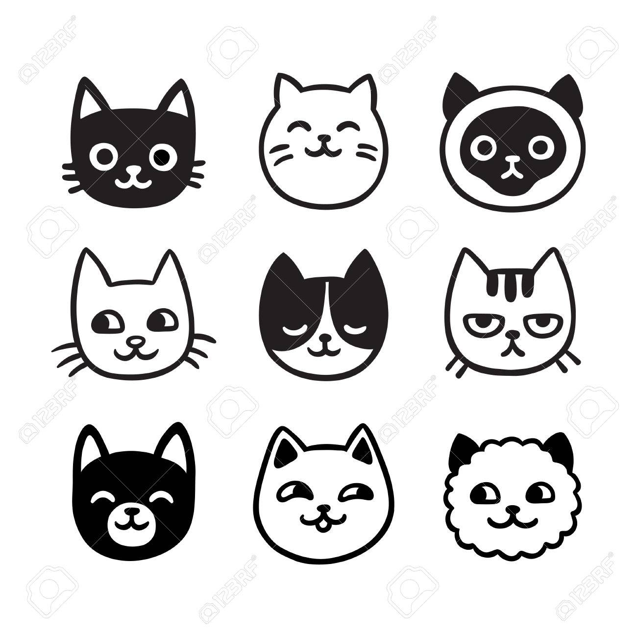 Cute Cartoon Cat Doodle Set Funny Vector Icons Hand Drawn Sketch