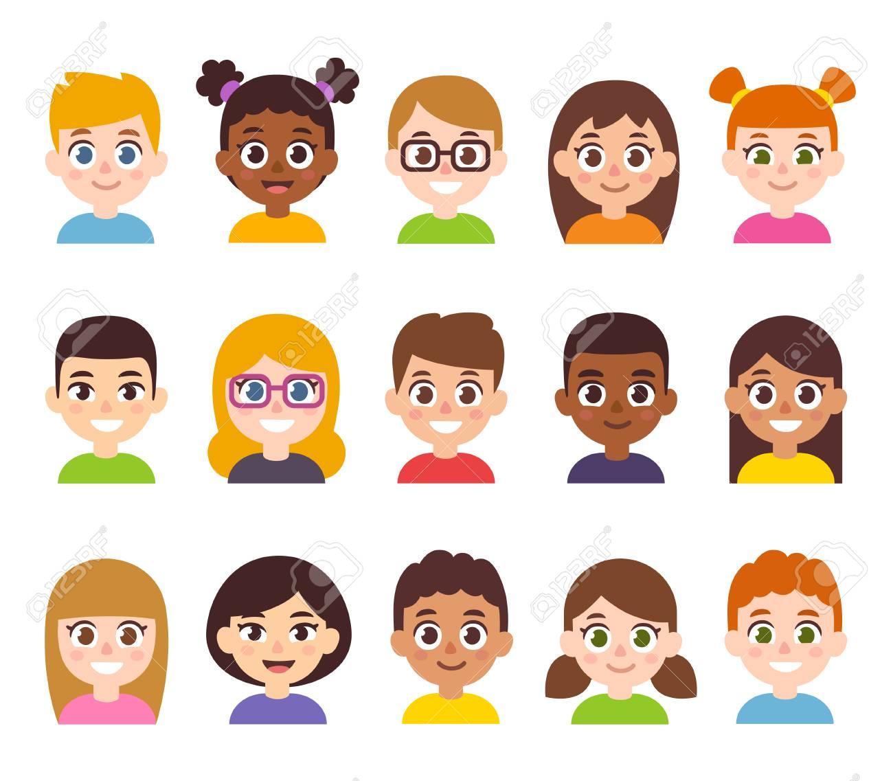 7f2db2349 Cartoon Children Avatar Set. Cute Diverse Kids Faces