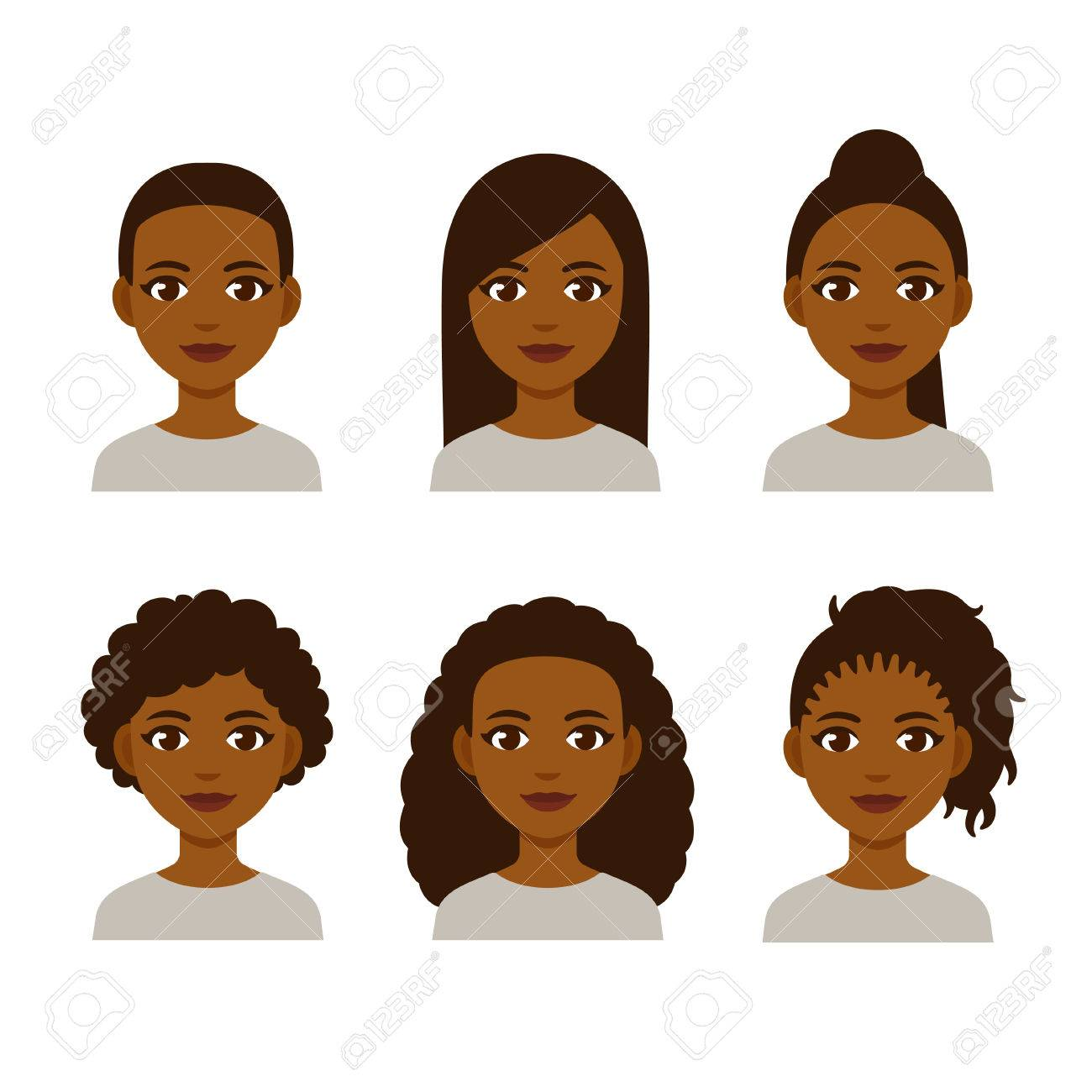 Black Women Faces With Different Hair Styles Cartoon African