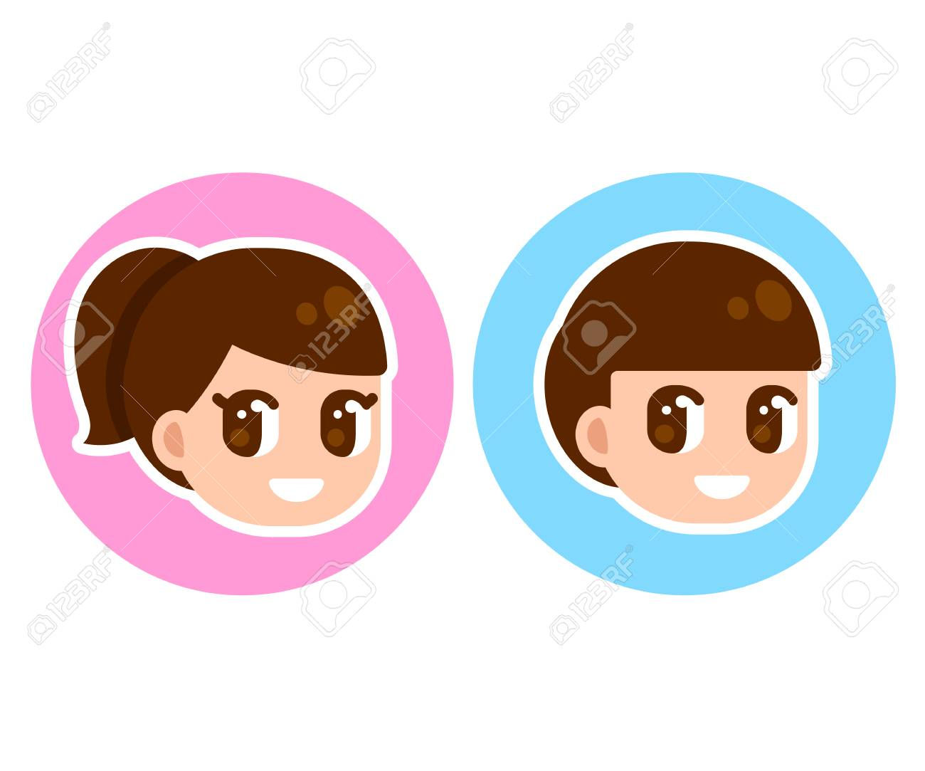 Cute Anime Children Face In Circle Boy And Girl Character Set