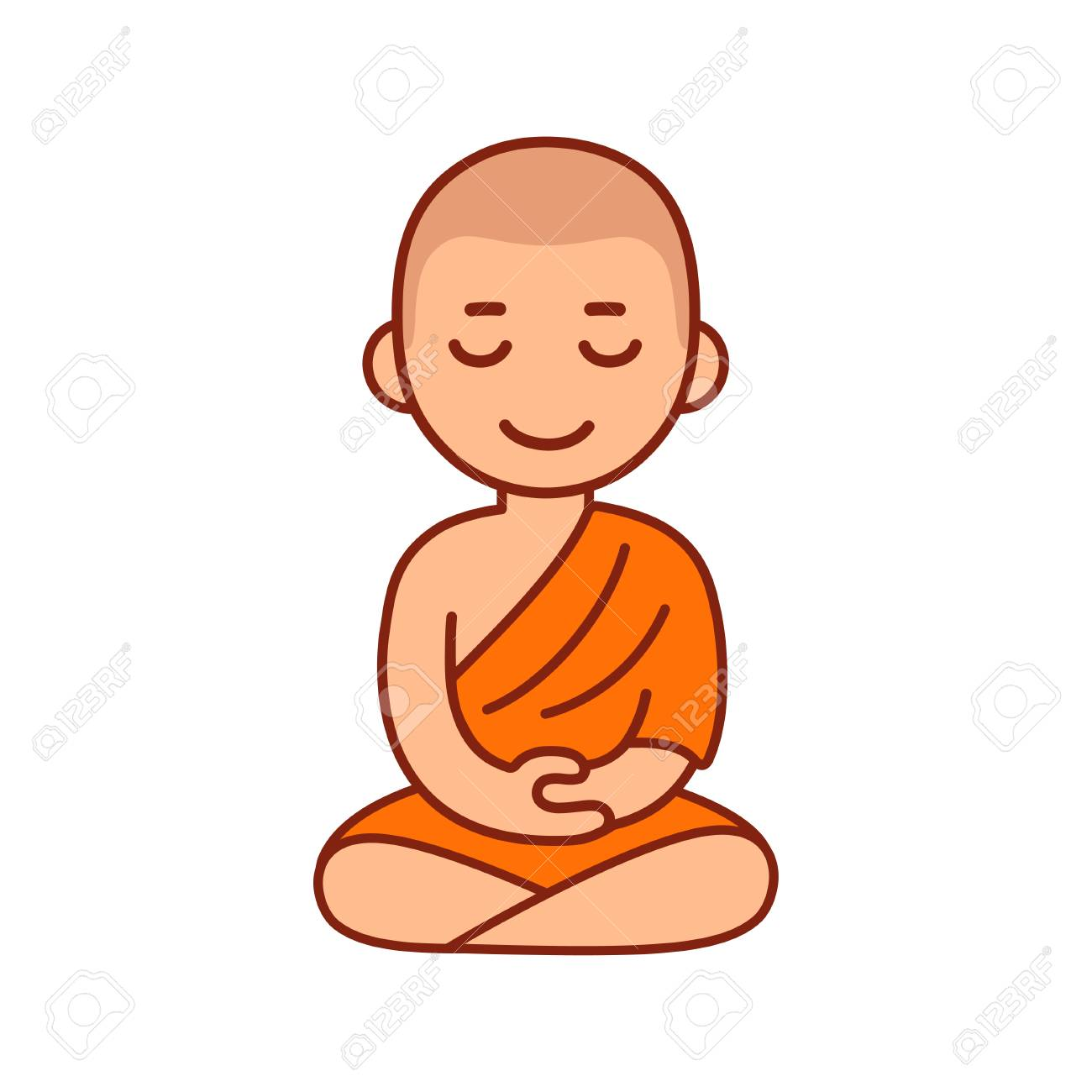 Buddhist Monk In Orange Robes Sitting In Meditation Cute Cartoon