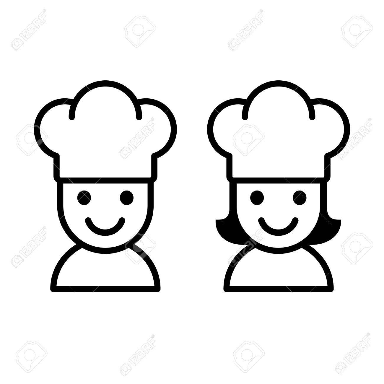 Simple Dessin Animé Homme Et Femme Cuisinier Avec Chef Chapeau Clip