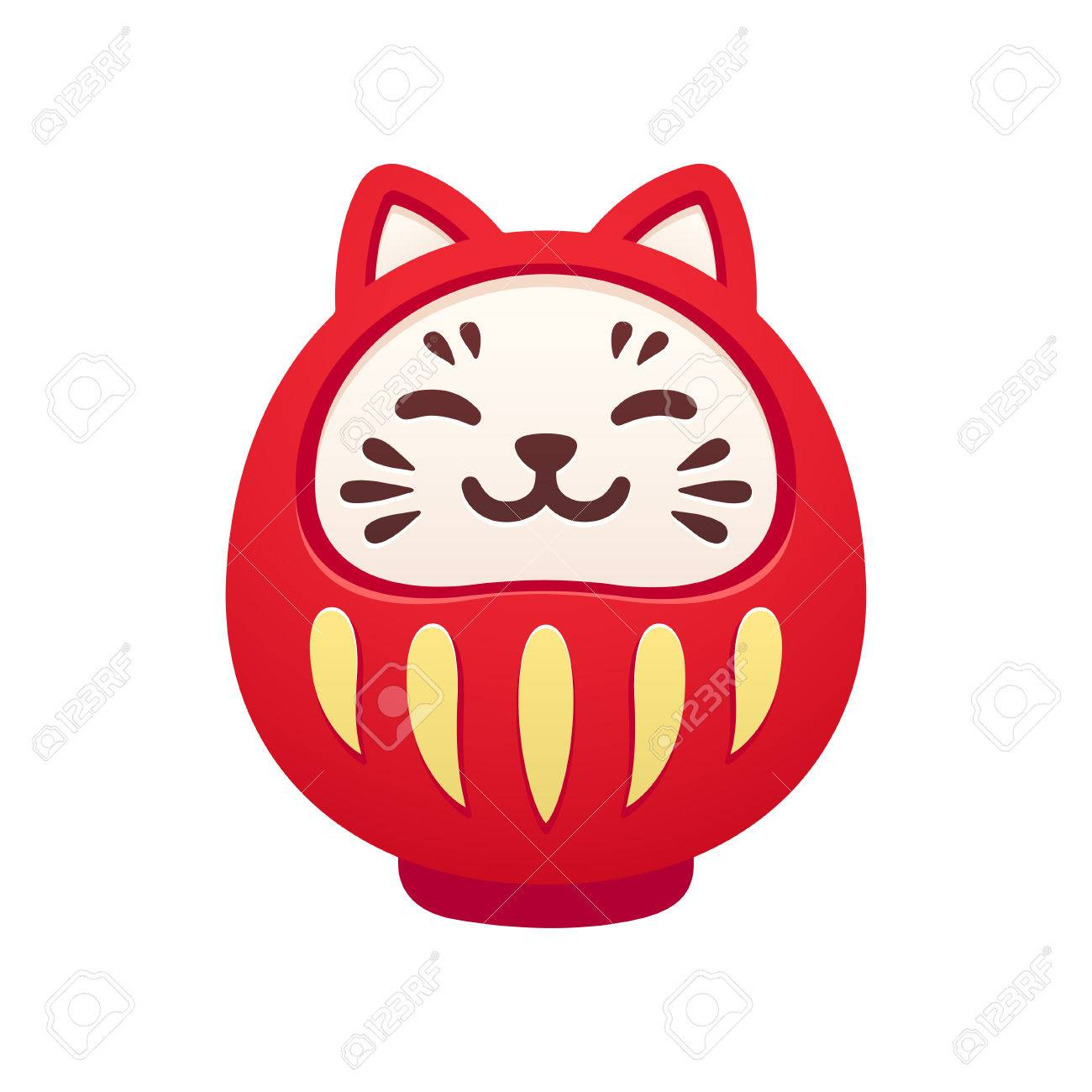Cute Cat Shaped Traditional Japanese Daruma Doll Kawaii Smiling
