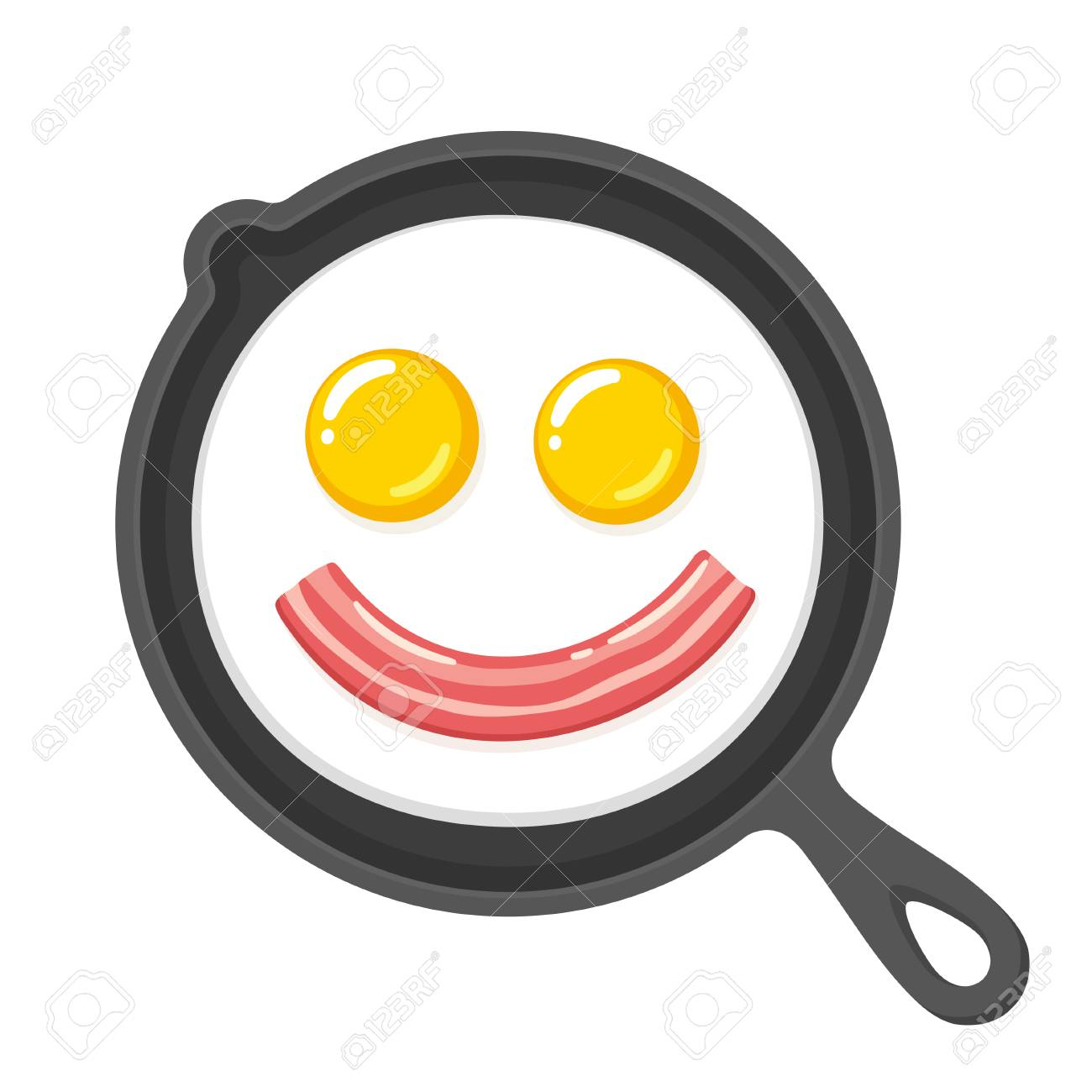 funny smiling fried eggs and bacon in skillet breakfast food rh 123rf com